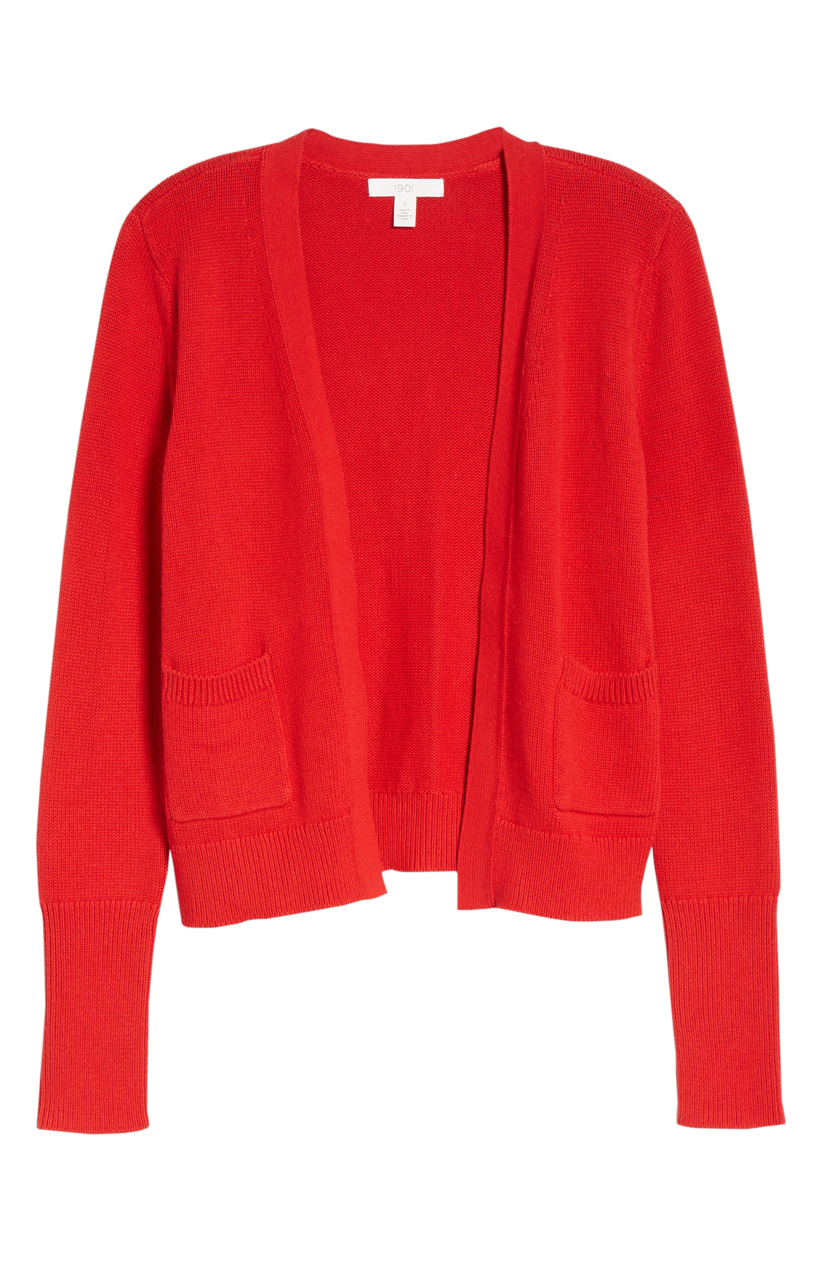 Cotton Cashmere Colorblock Cardigan,                             Alternate thumbnail 7, color,                             Red Chinoise