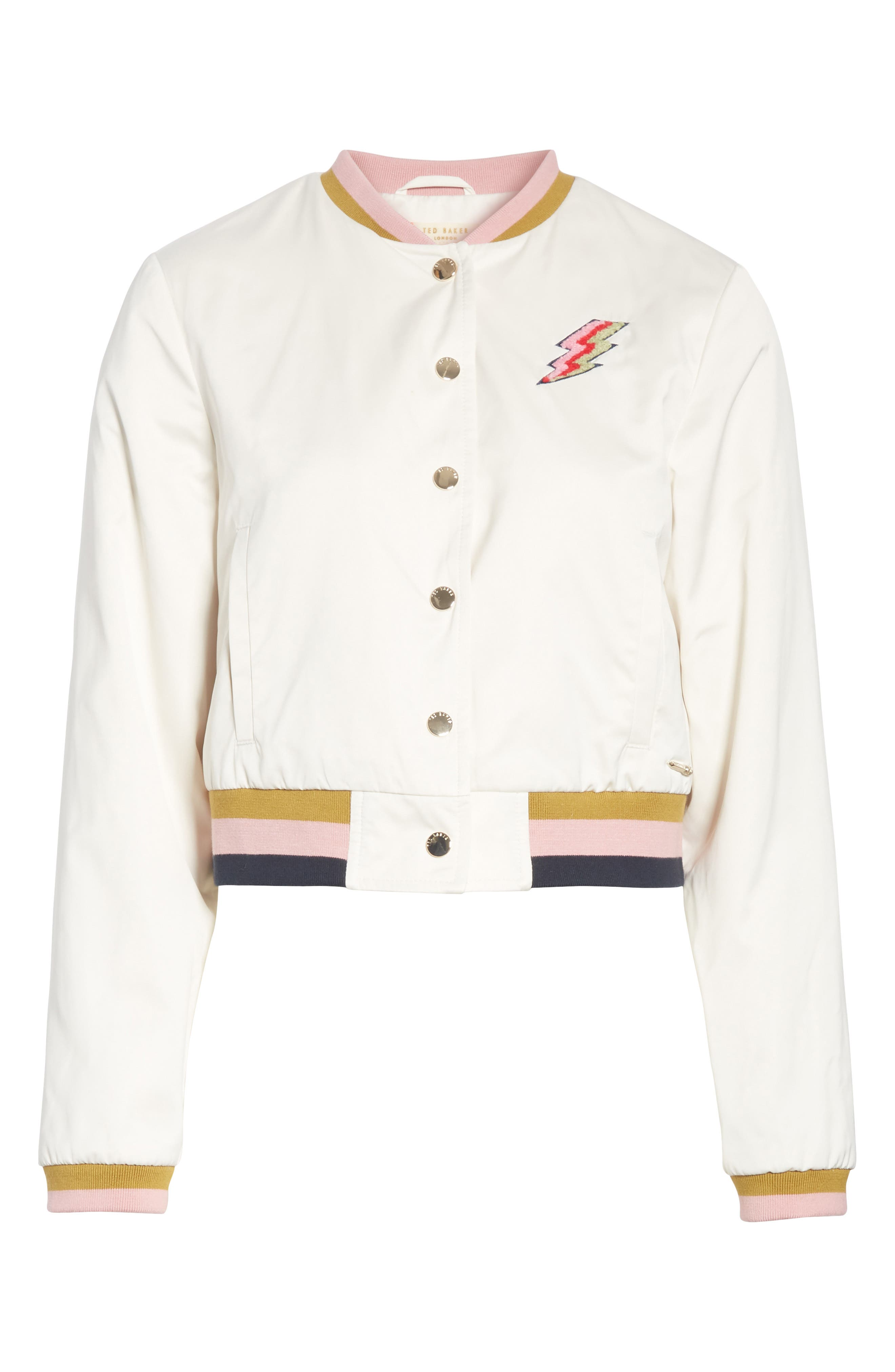Colour by Numbers Bomber Jacket,                             Alternate thumbnail 6, color,                             Ivory