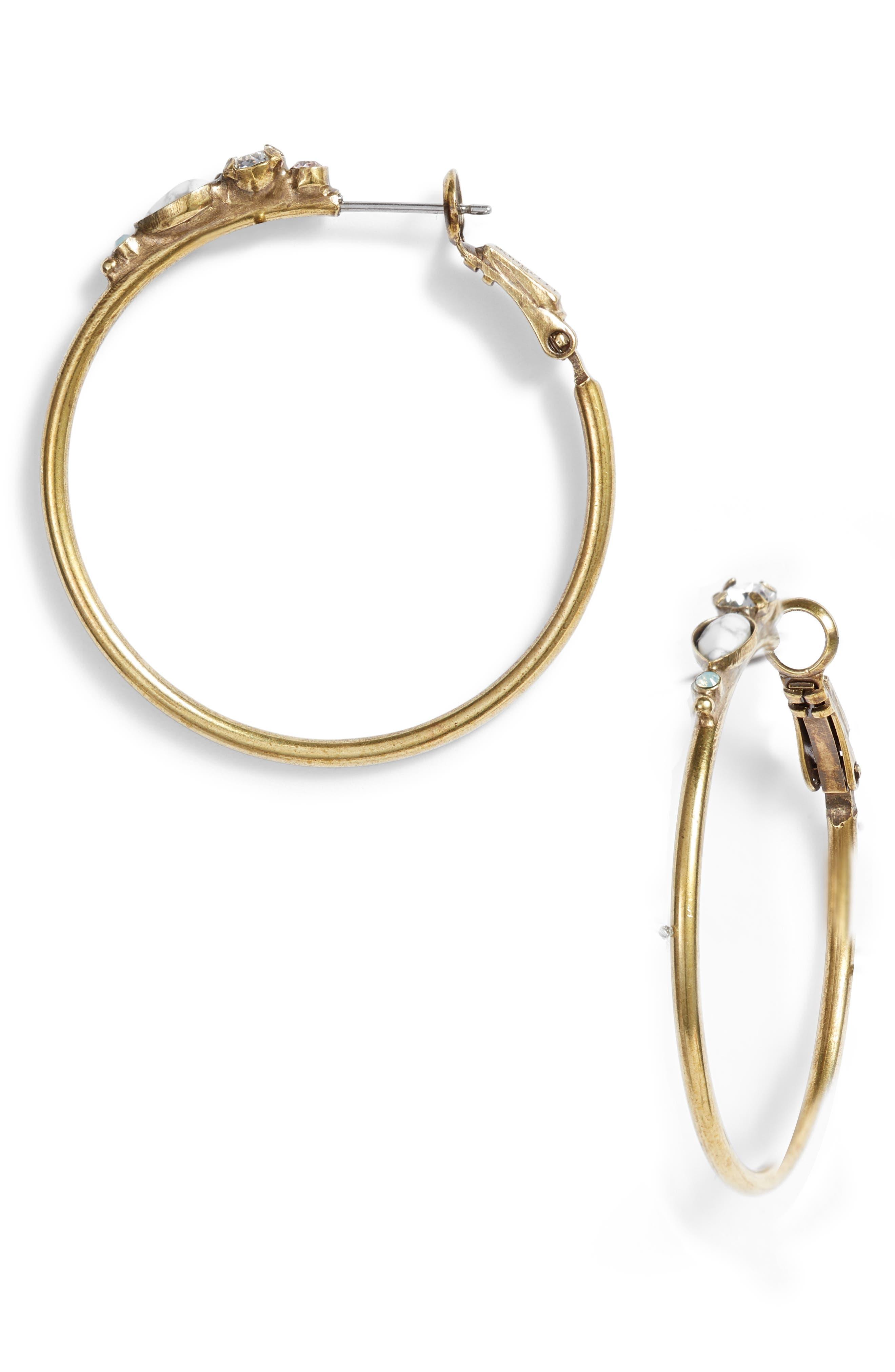 Sorelli Sweet Pea Hoop Earrings,                             Main thumbnail 1, color,                             White