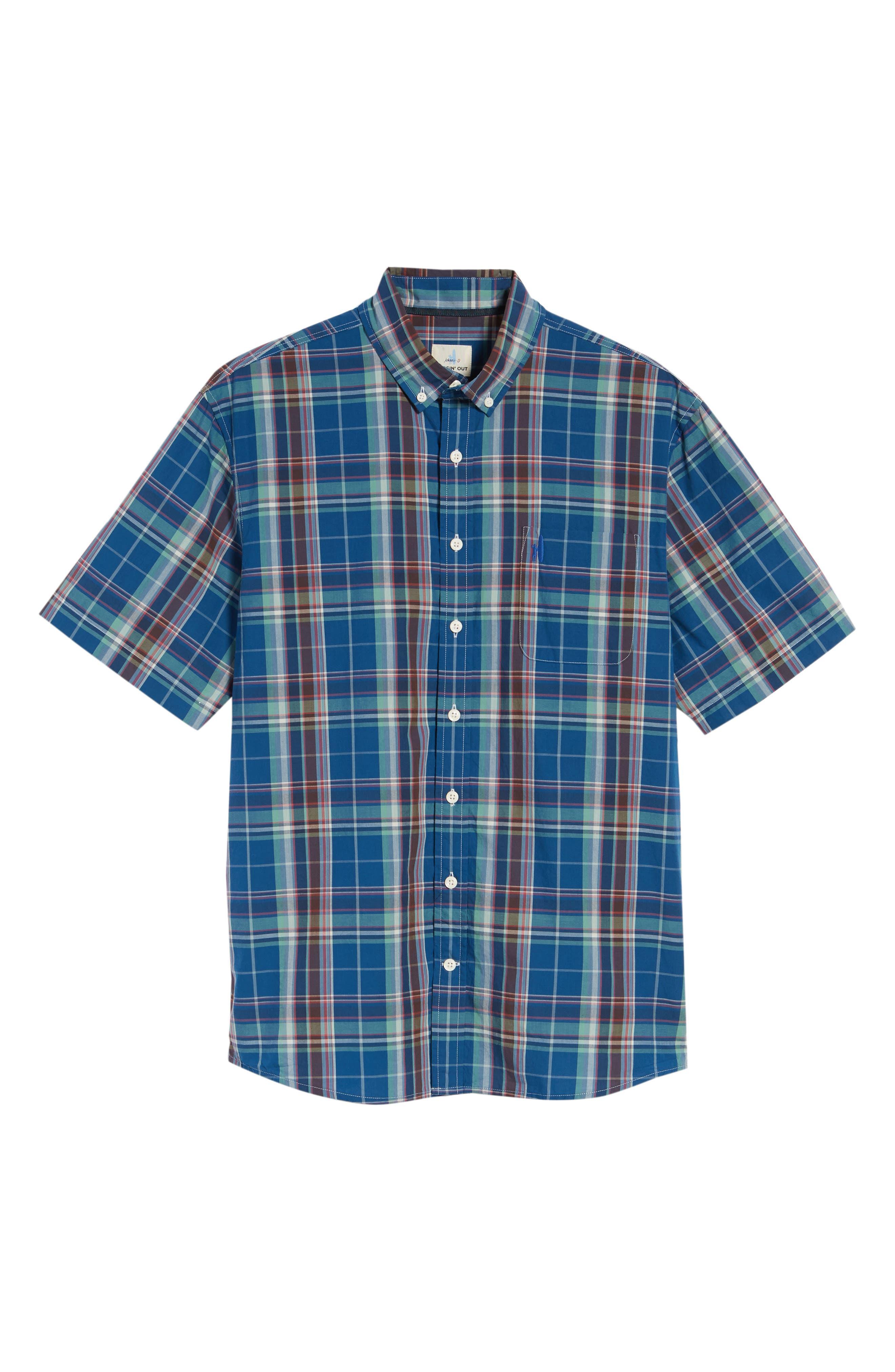 Exum Classic Fit Plaid Sport Shirt,                             Alternate thumbnail 6, color,                             Lake