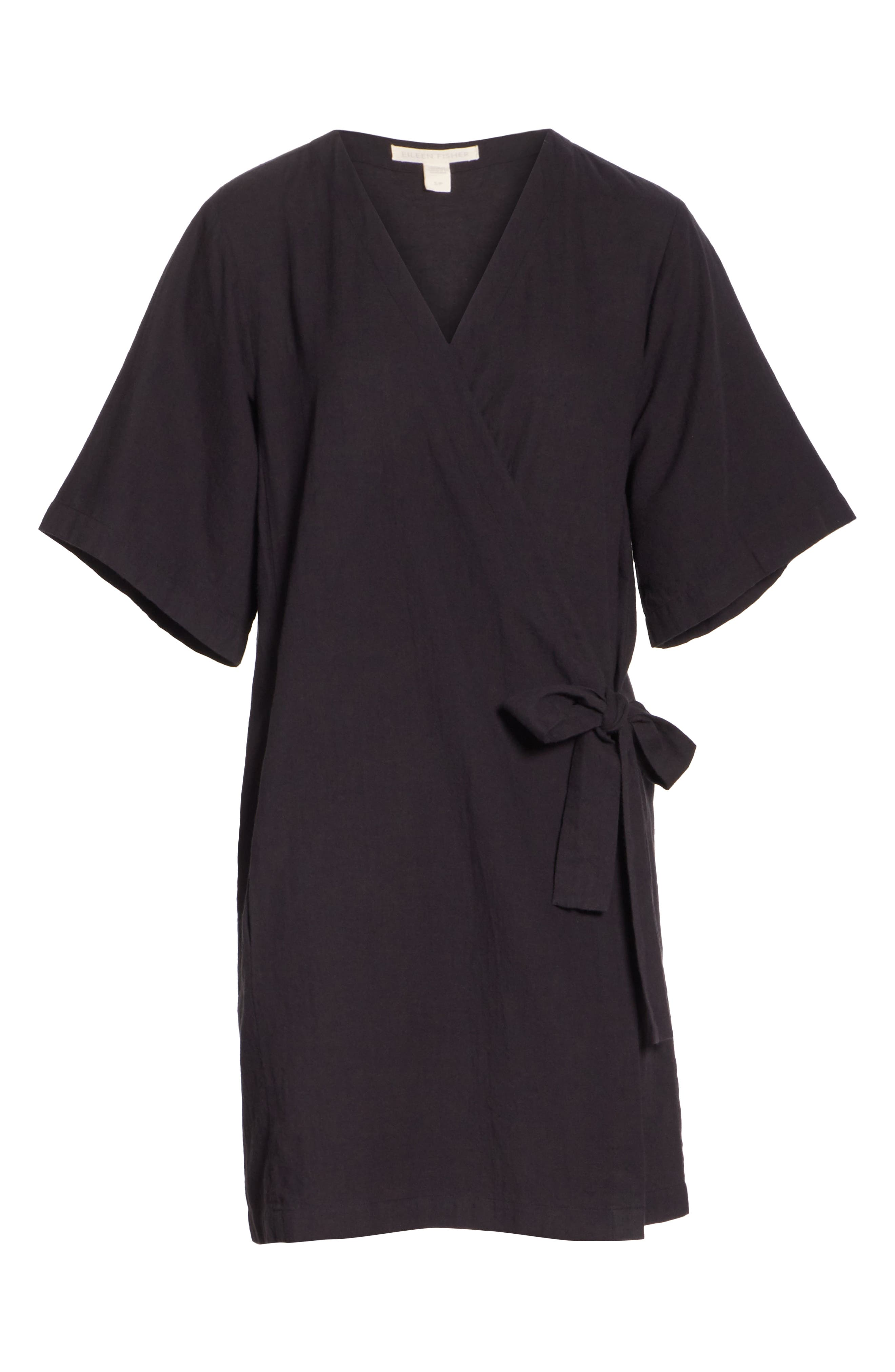 Kimono Sleeve Organic Cotton Blend Jacket,                             Alternate thumbnail 6, color,                             Black