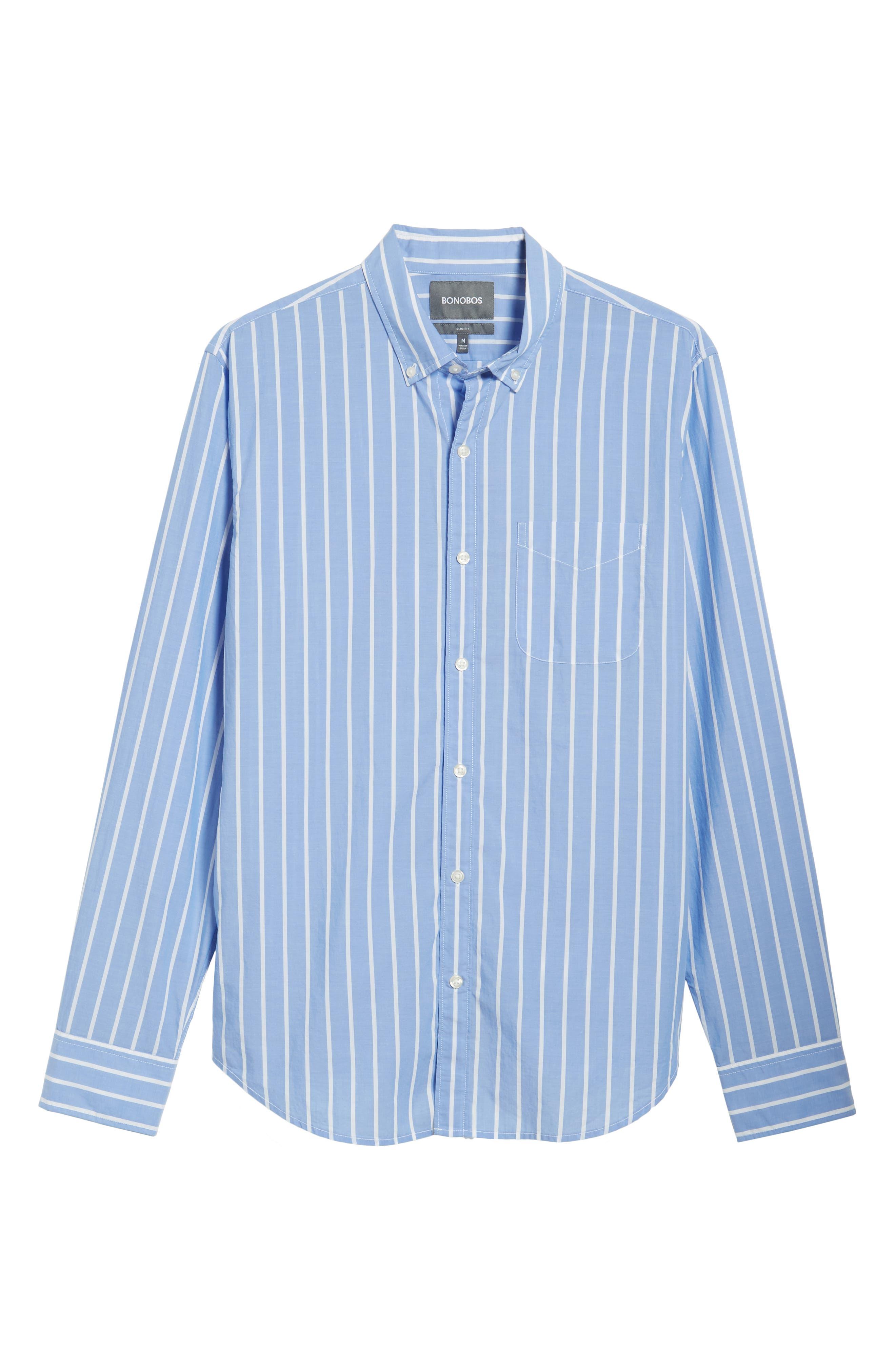 Summerweight Slim Fit Stripe Sport Shirt,                             Alternate thumbnail 5, color,                             Caste Hill Stripe Blue