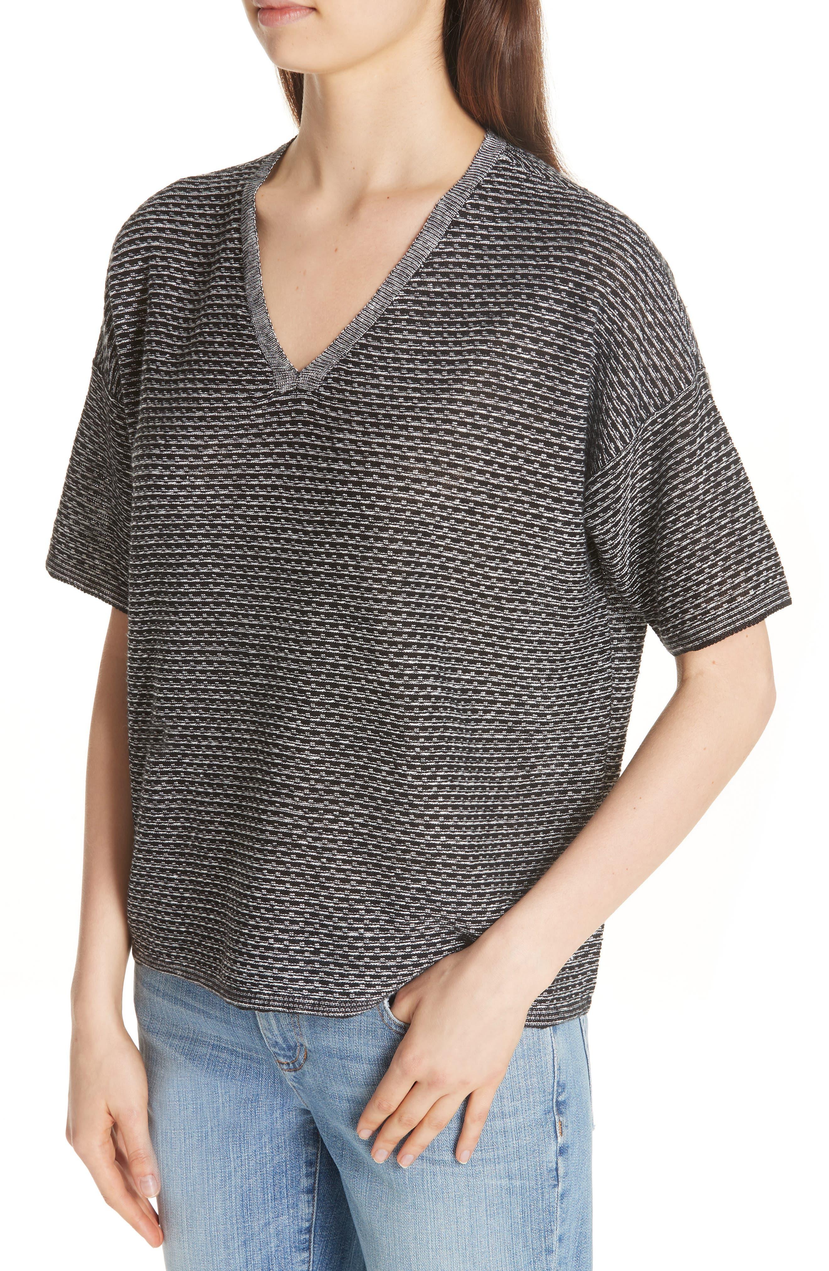 Organic Linen Jacquard Sweater,                             Alternate thumbnail 4, color,                             Black/ Soft White