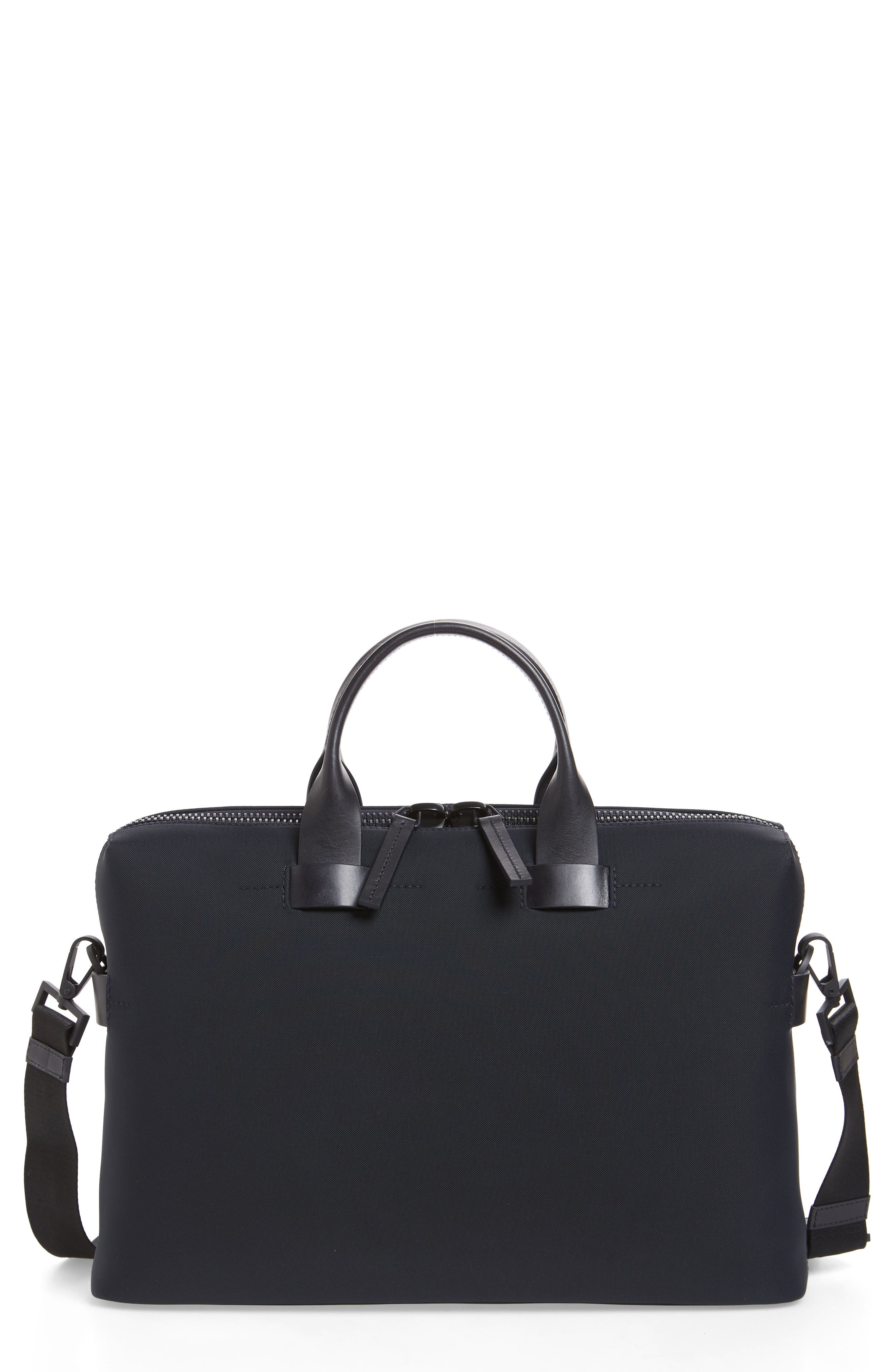 TROUBADOUR Slim Briefcase - Blue in Navy Nylon/ Navy Leather