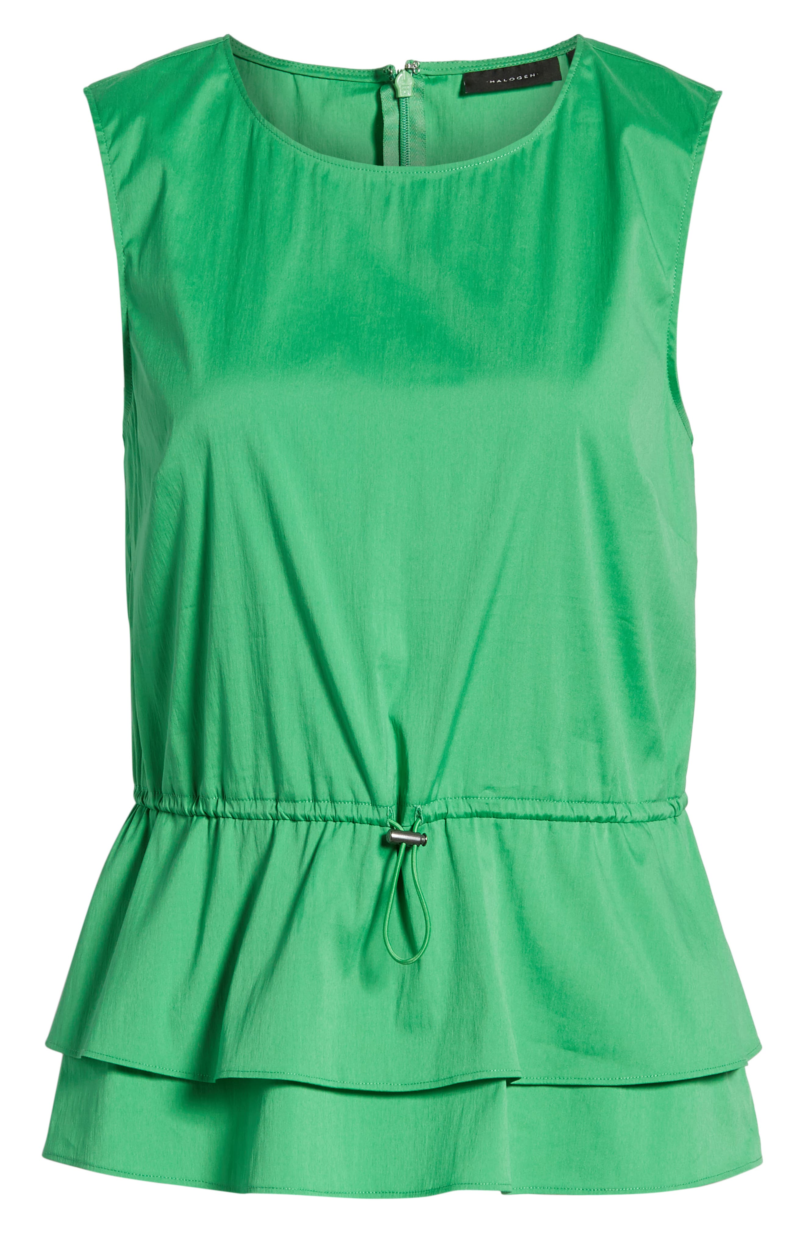 Stretch Cotton Blend Peplum Top,                             Alternate thumbnail 6, color,                             Green Kelly