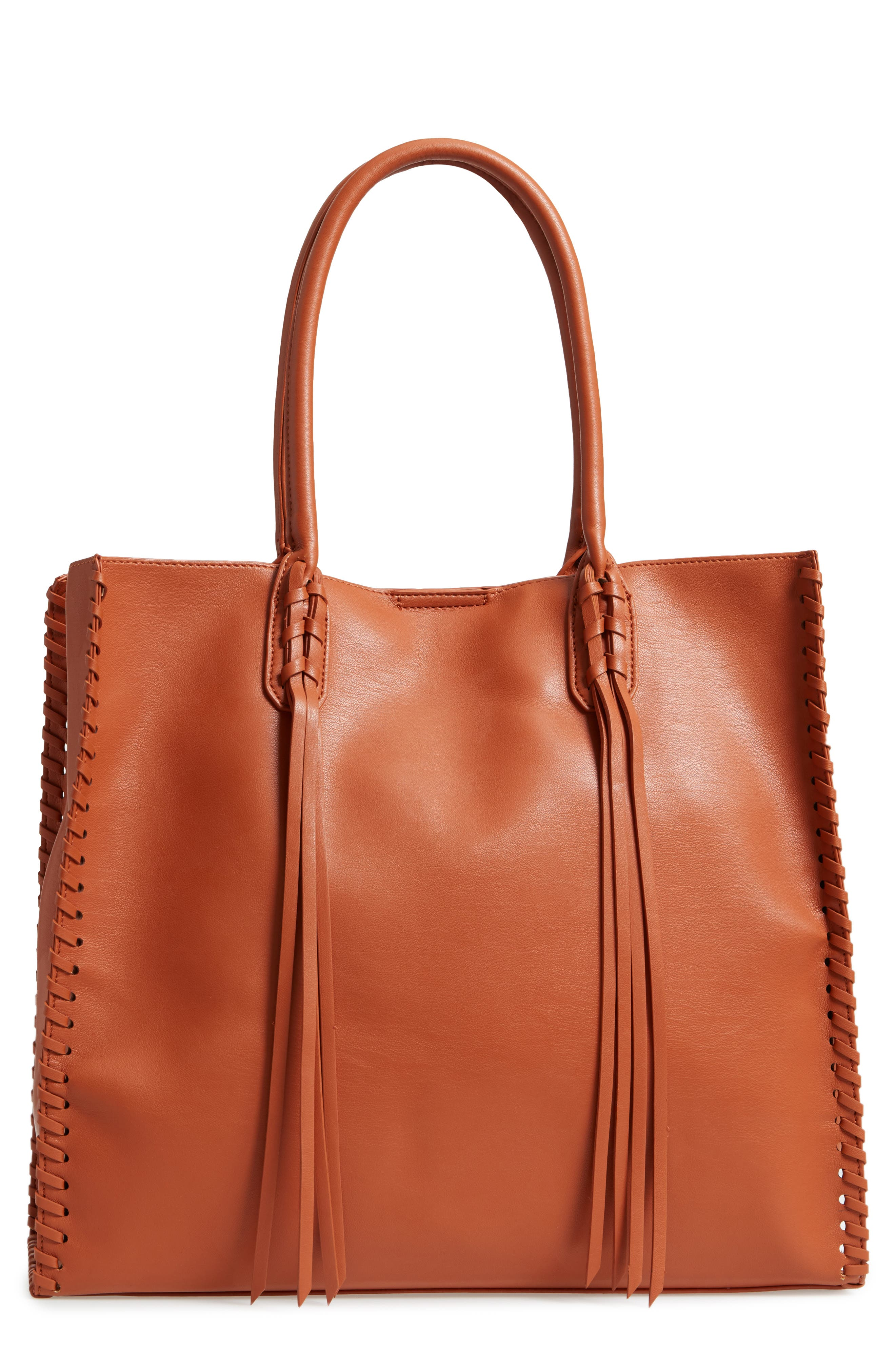 Cadence Faux Leather Whipstitch Tote,                         Main,                         color, Cognac
