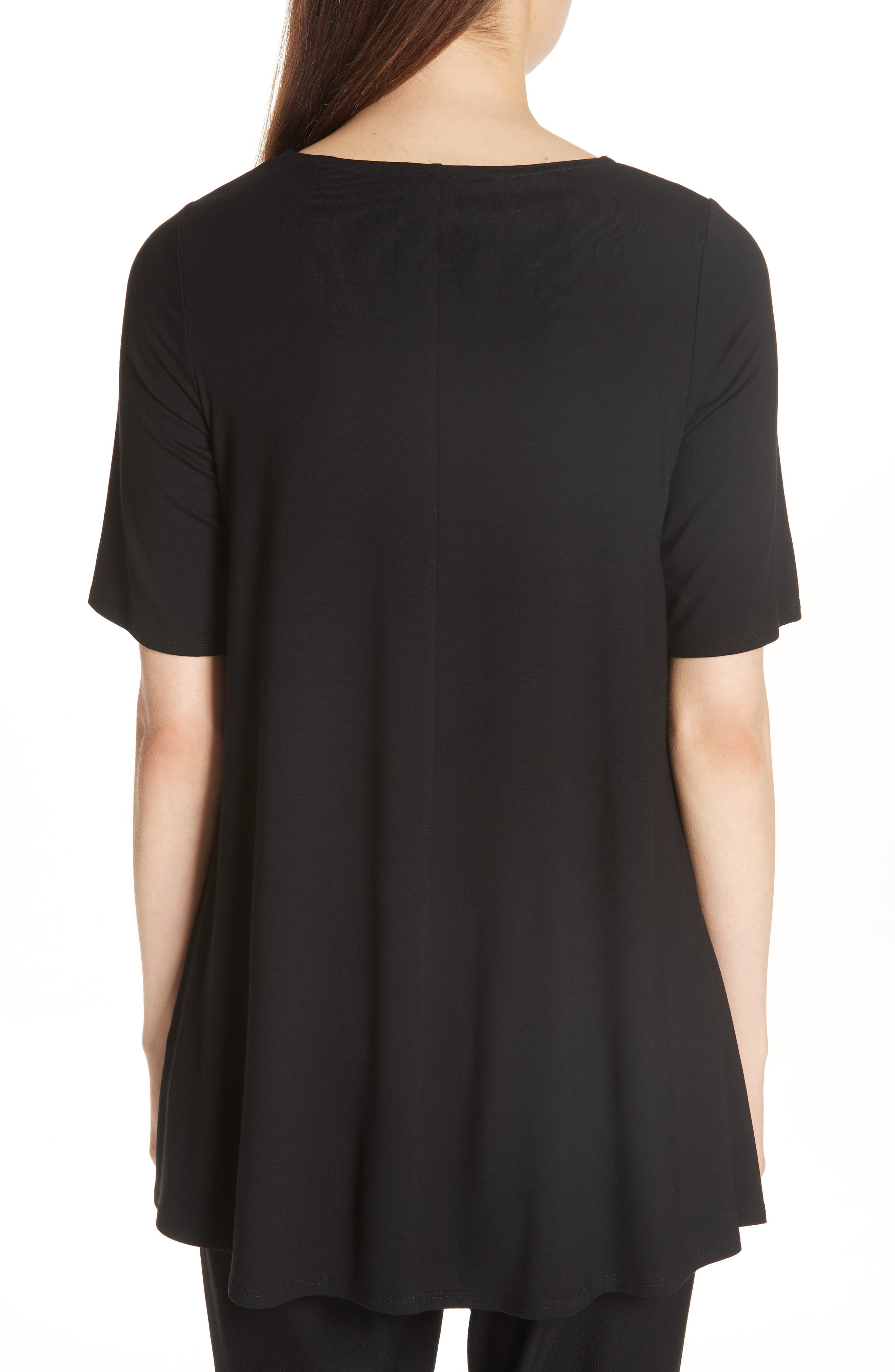 Jewel Neck Elbow Sleeve Tunic,                             Alternate thumbnail 2, color,                             Black