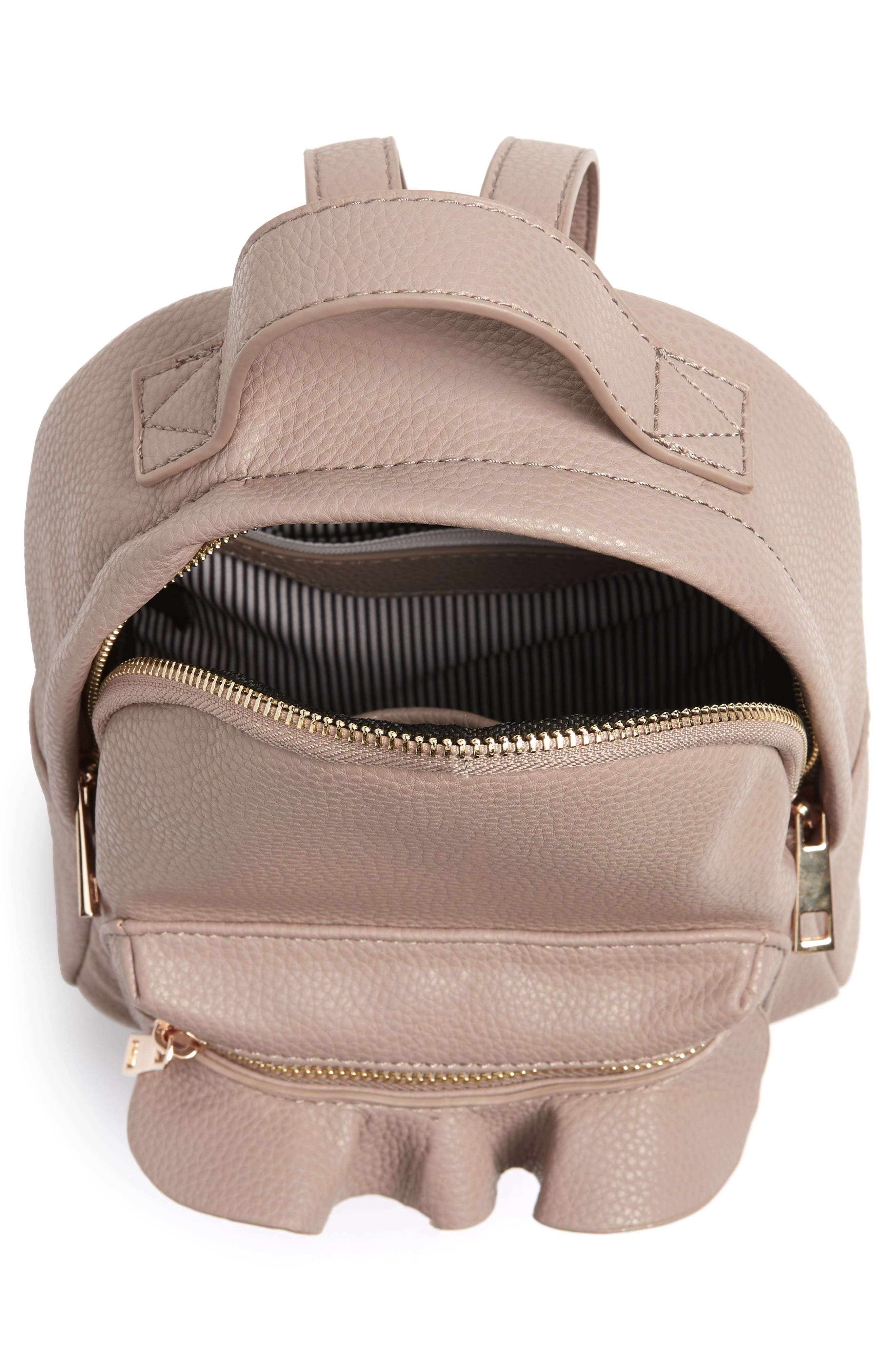 Tracie Mini Faux Leather Backpack,                             Alternate thumbnail 4, color,                             Taupe