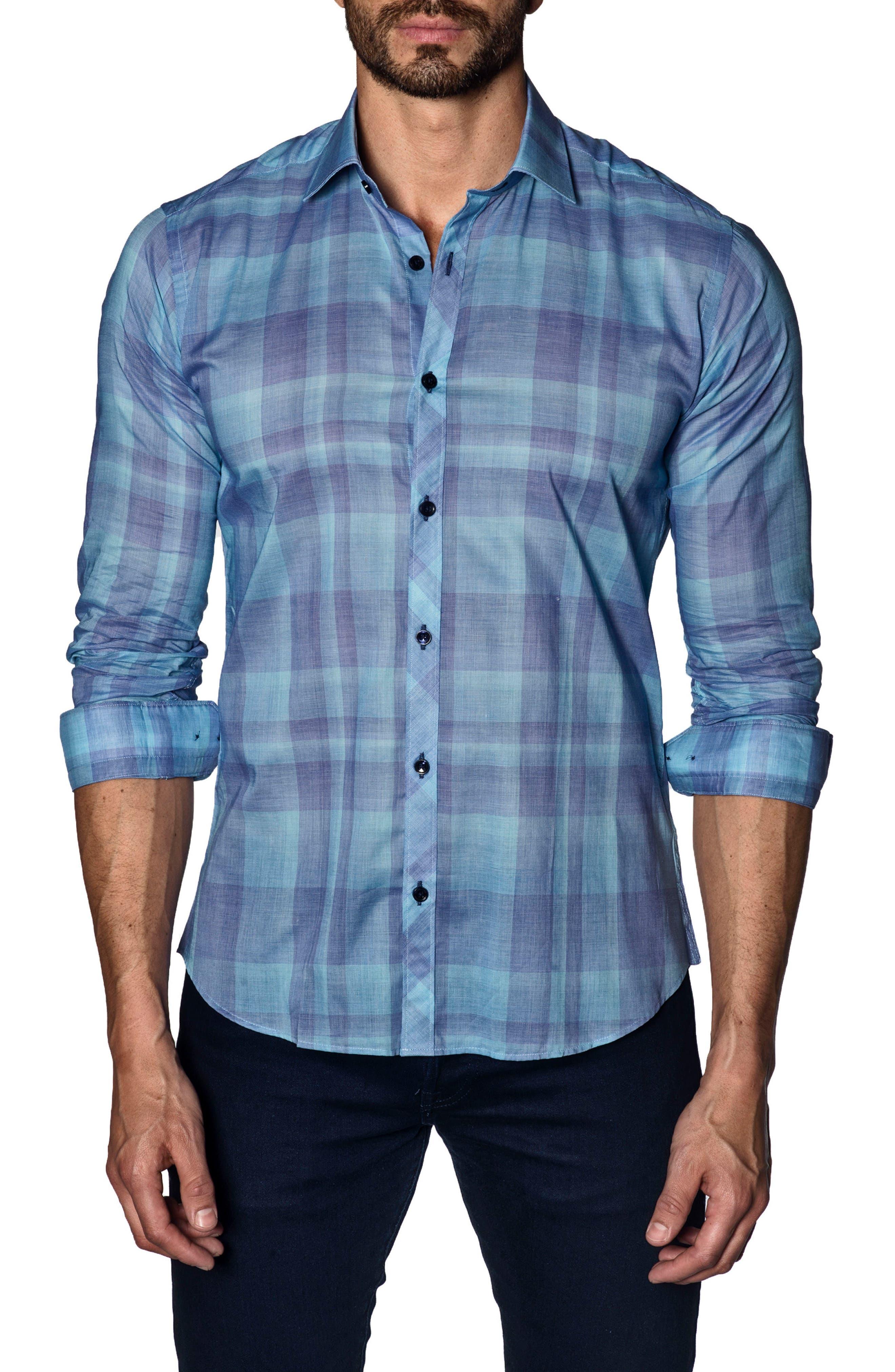 Trim Fit Sport Shirt,                         Main,                         color, Turquoise Check