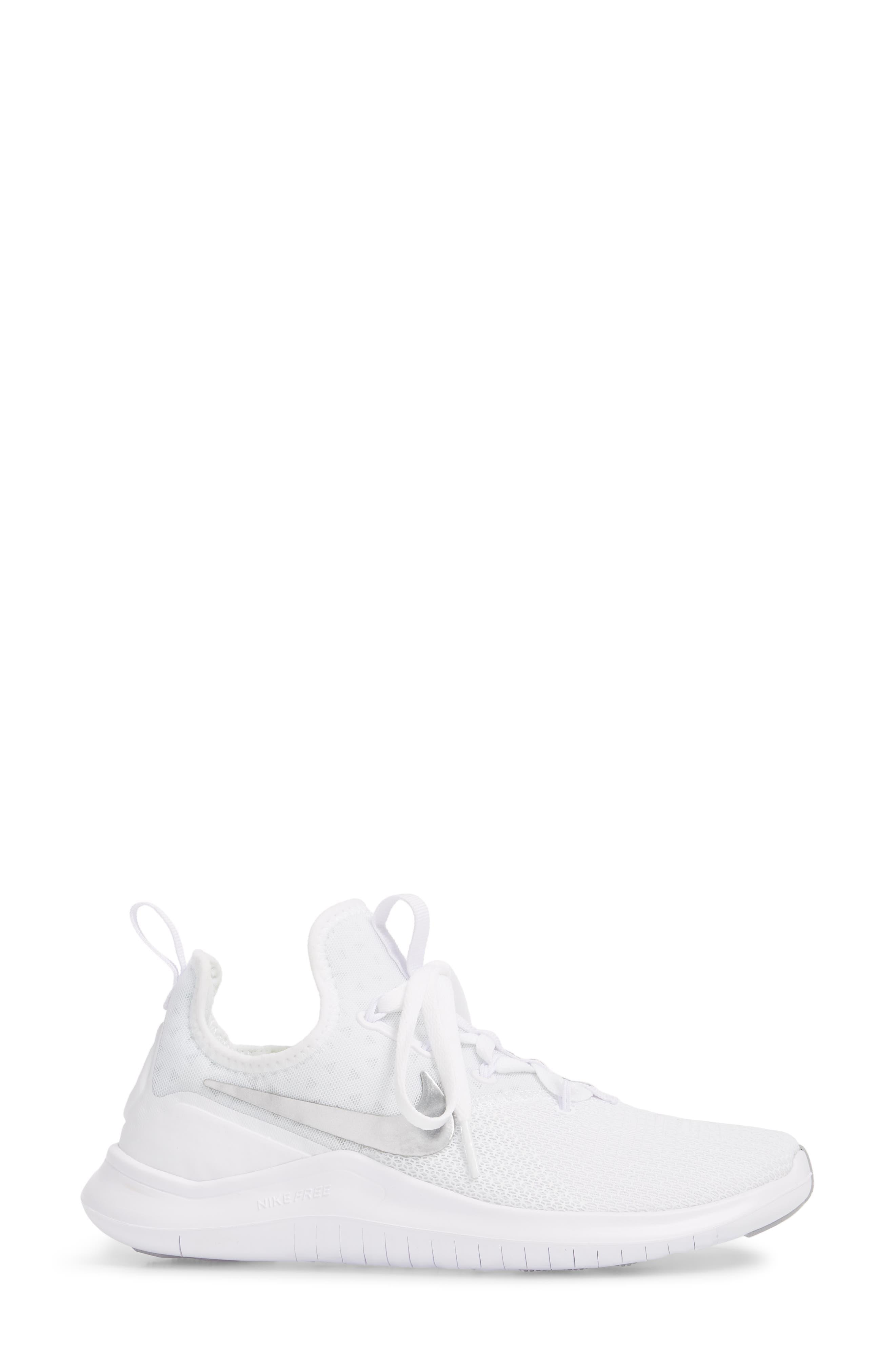 Free TR8 Training Shoe,                             Alternate thumbnail 3, color,                             White/ Metallic Silver/ White