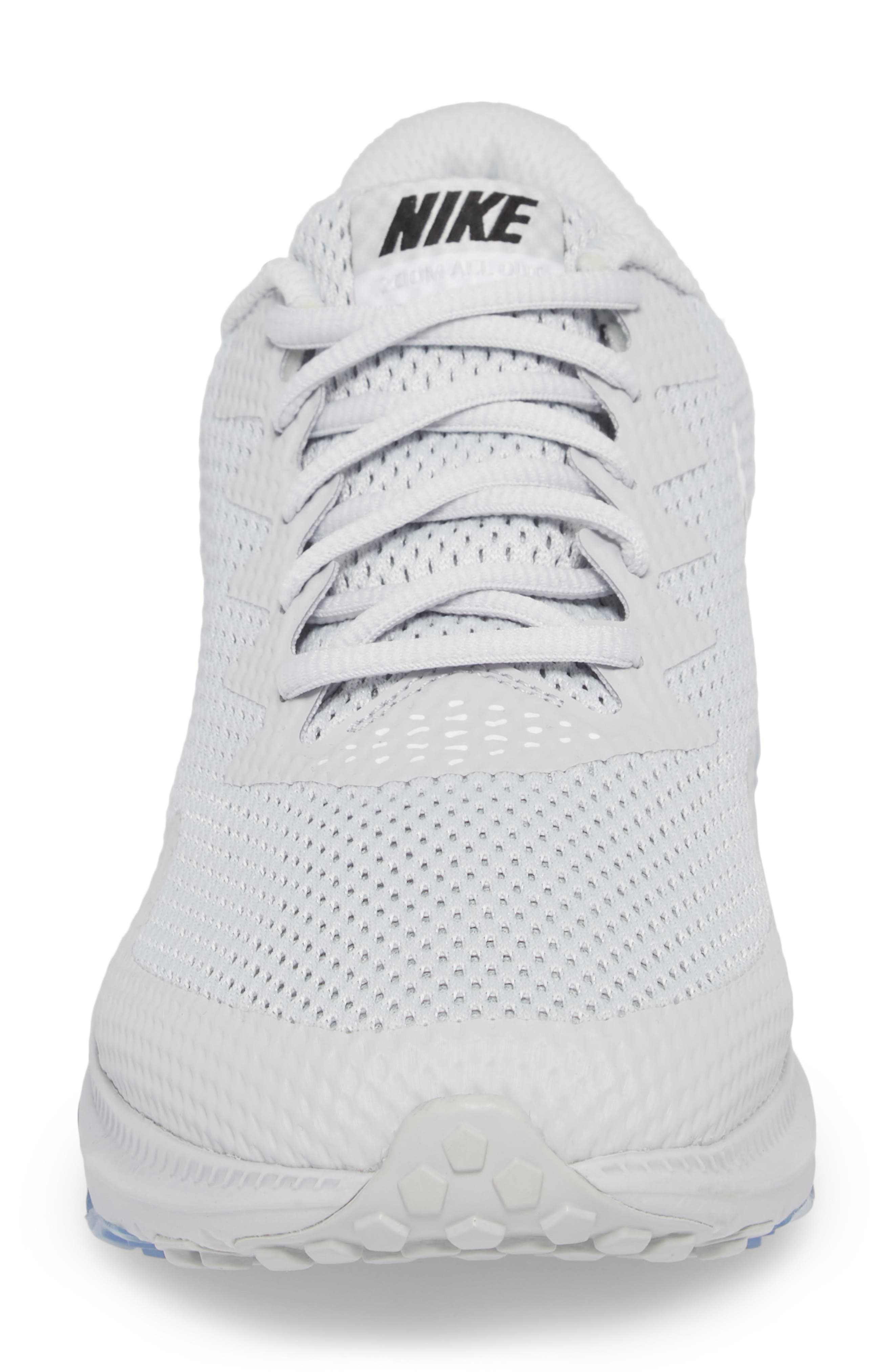 Zoom All Out Low 2 Running Shoe,                             Alternate thumbnail 6, color,                             Pure Platinum/ Black/ White