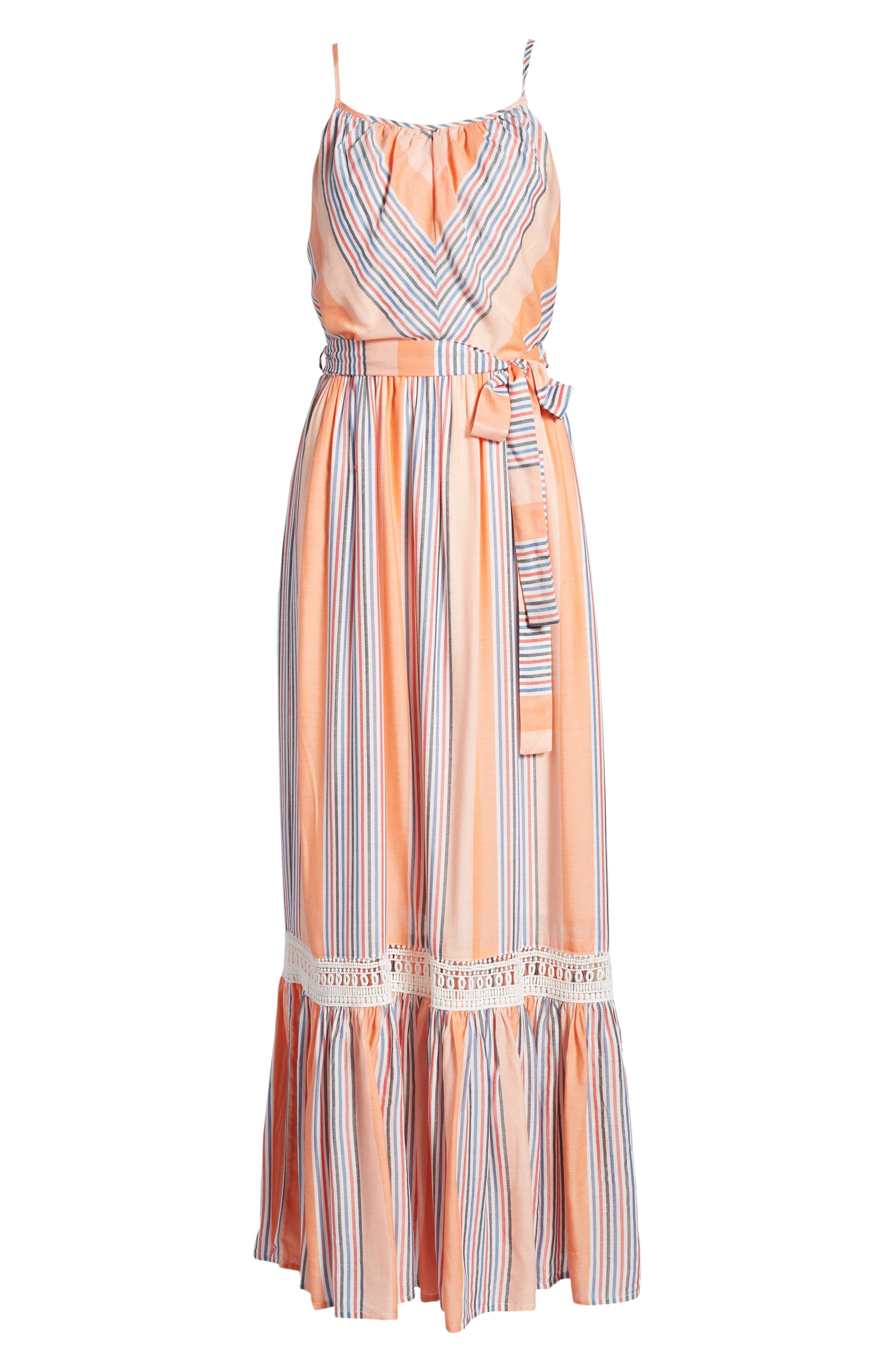 Tie Waist Cotton Maxi Dress,                             Alternate thumbnail 7, color,                             Orange Stripe