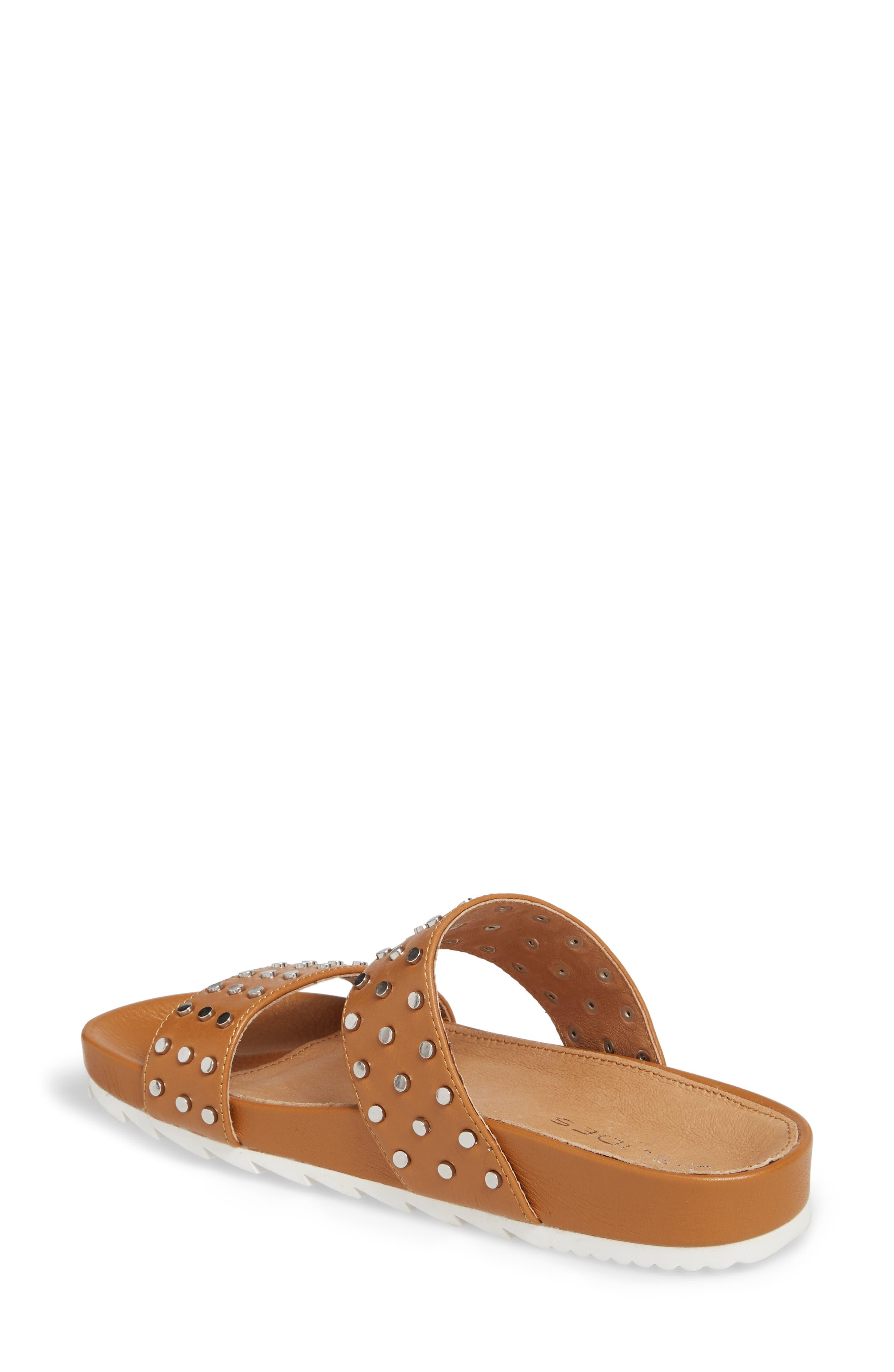 Erika Studded Slide Sandal,                             Alternate thumbnail 2, color,                             Tan Leather