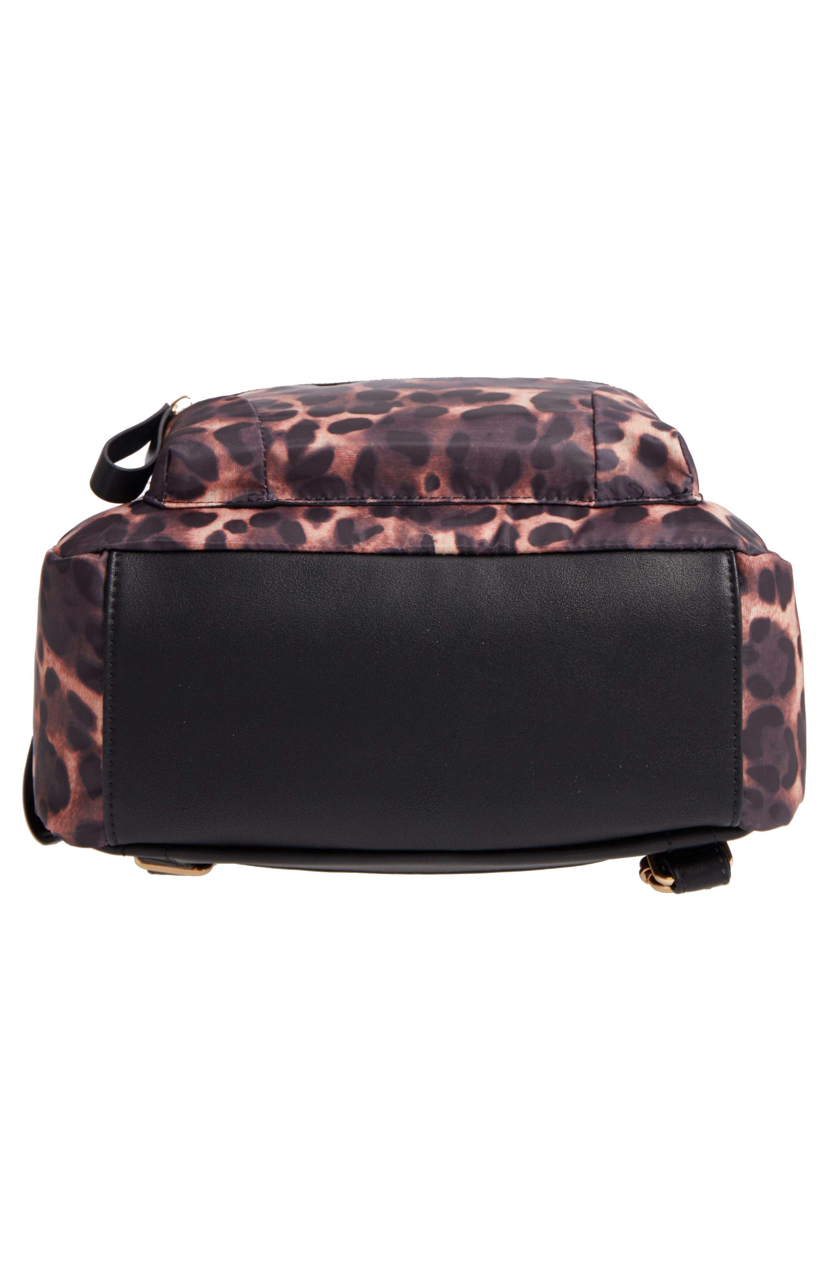 Leopard Print Nylon Backpack,                             Alternate thumbnail 5, color,                             Leopard