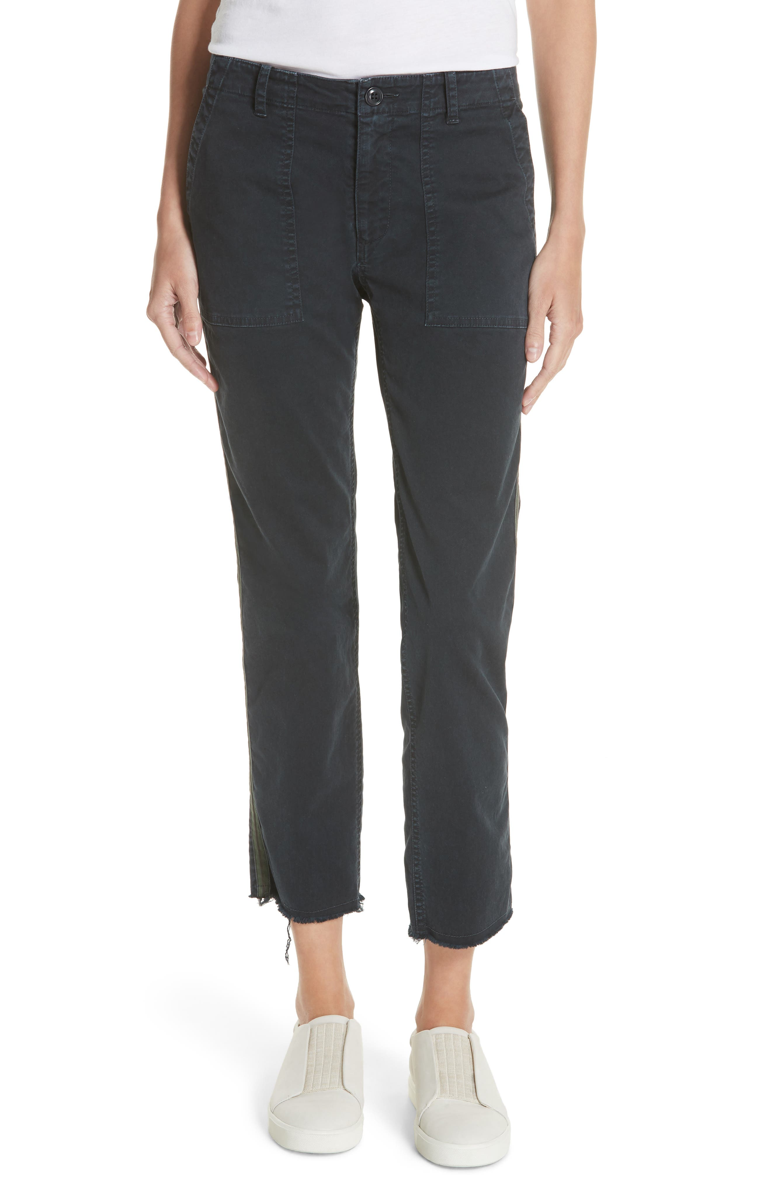 Jenna Ankle Pants,                         Main,                         color, Dark Navy/ Green/ Gold Tape