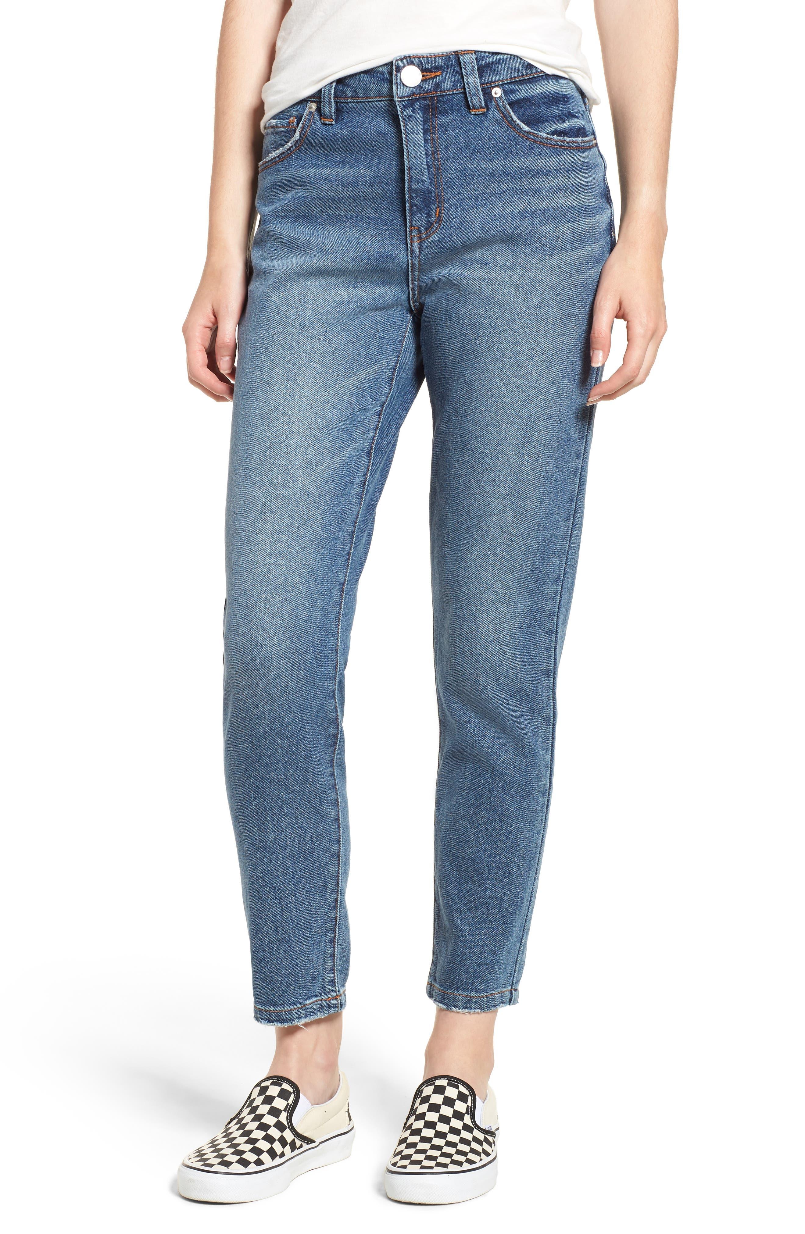 Ankle Straight Leg Jeans,                             Main thumbnail 1, color,                             Medium Wash