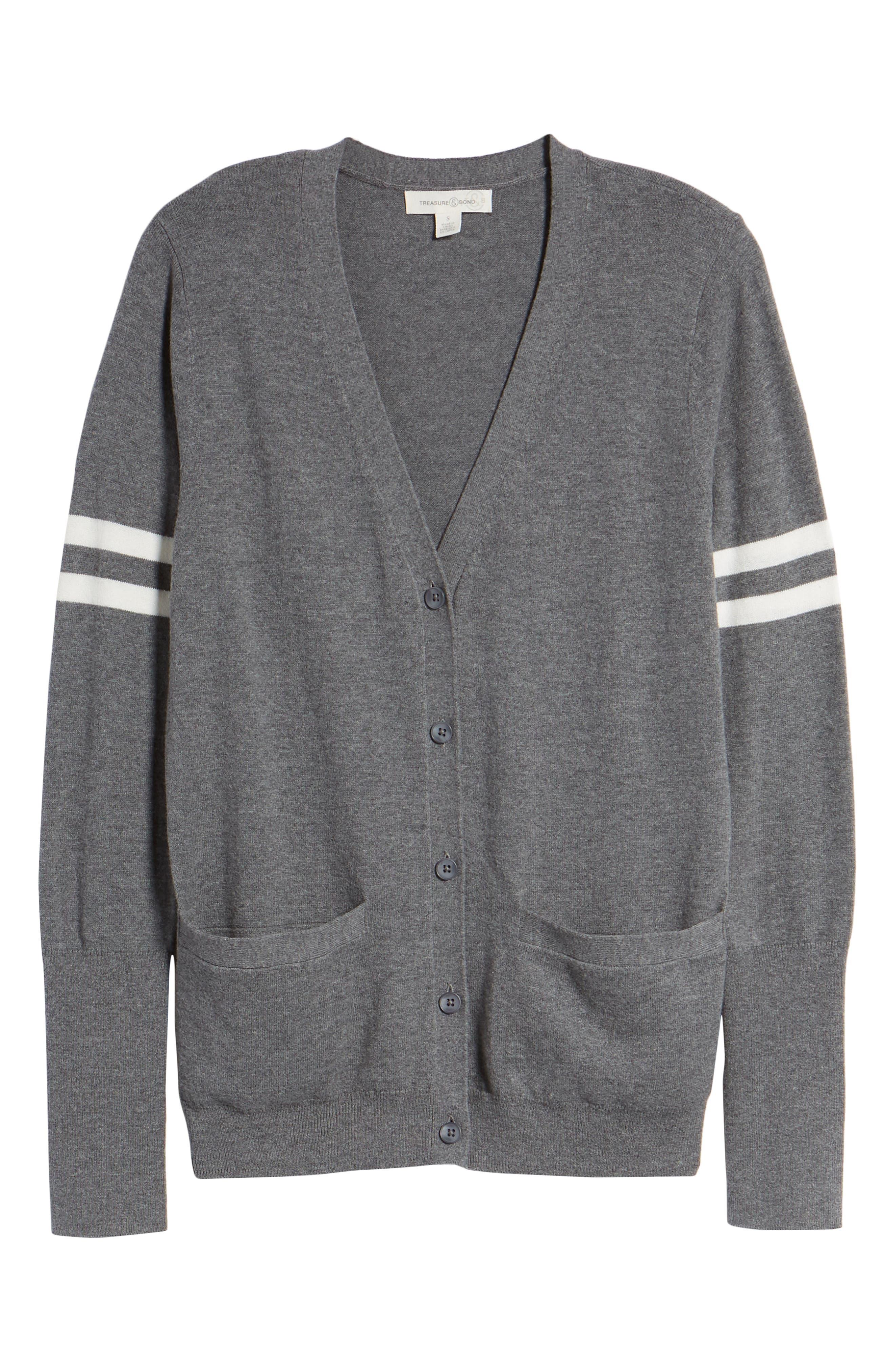 Stripe Sleeve Cardigan,                             Alternate thumbnail 7, color,                             Grey Dark Heather Ivory Combo