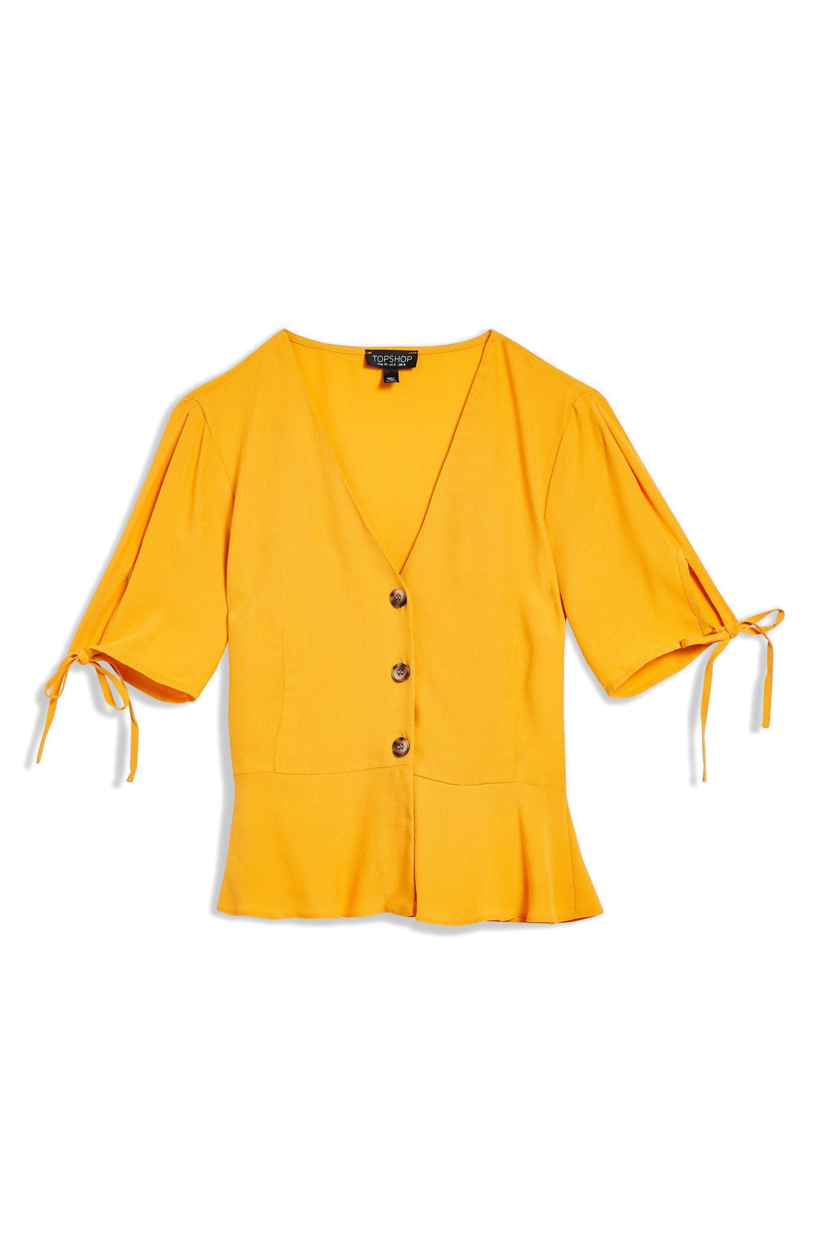 Bryony Tea Button Front Blouse,                             Alternate thumbnail 4, color,                             Yellow