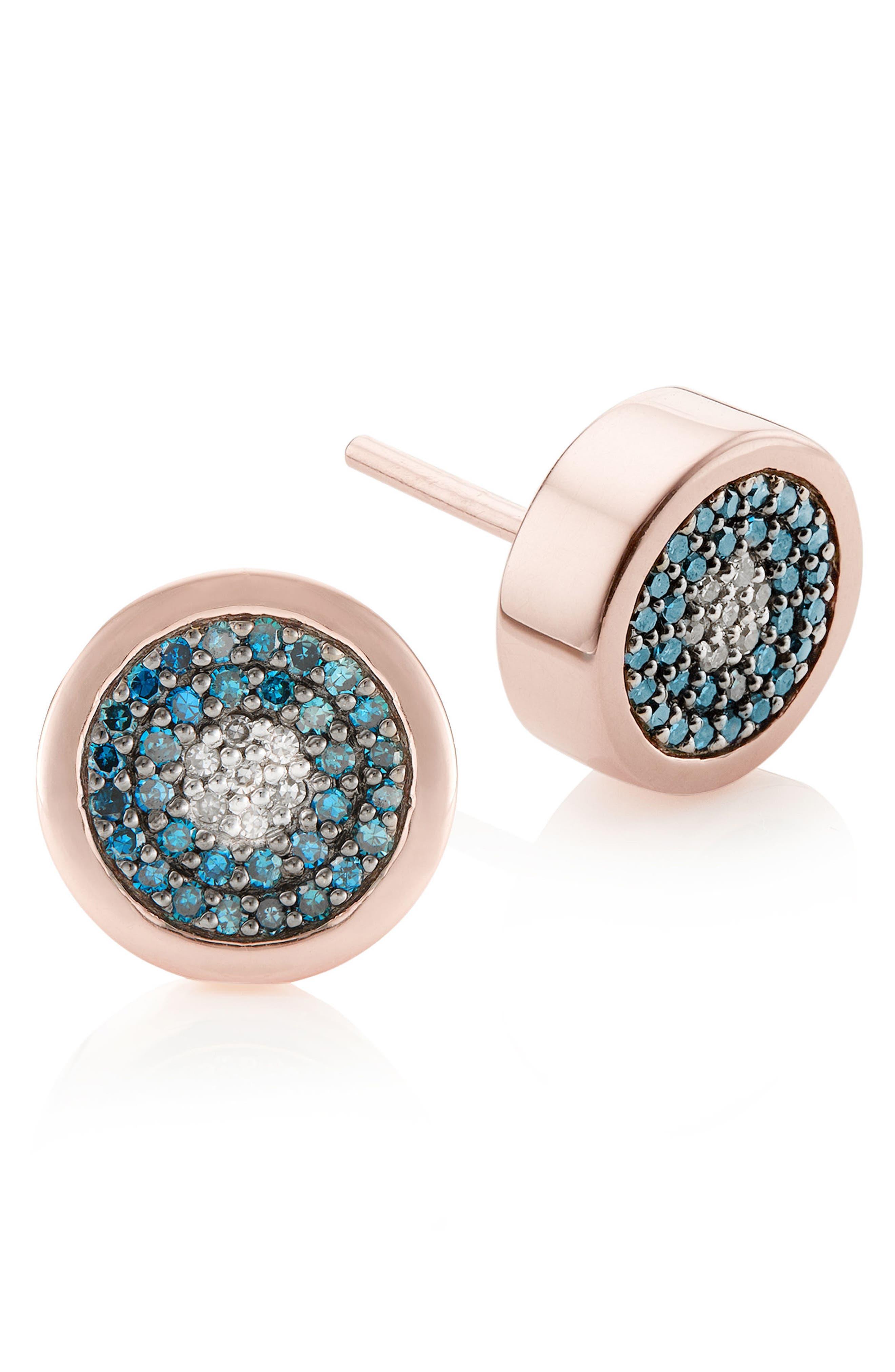 Evil Eye Stud Diamond Earrings,                             Alternate thumbnail 3, color,                             Rose Gold/ Blue Diamond