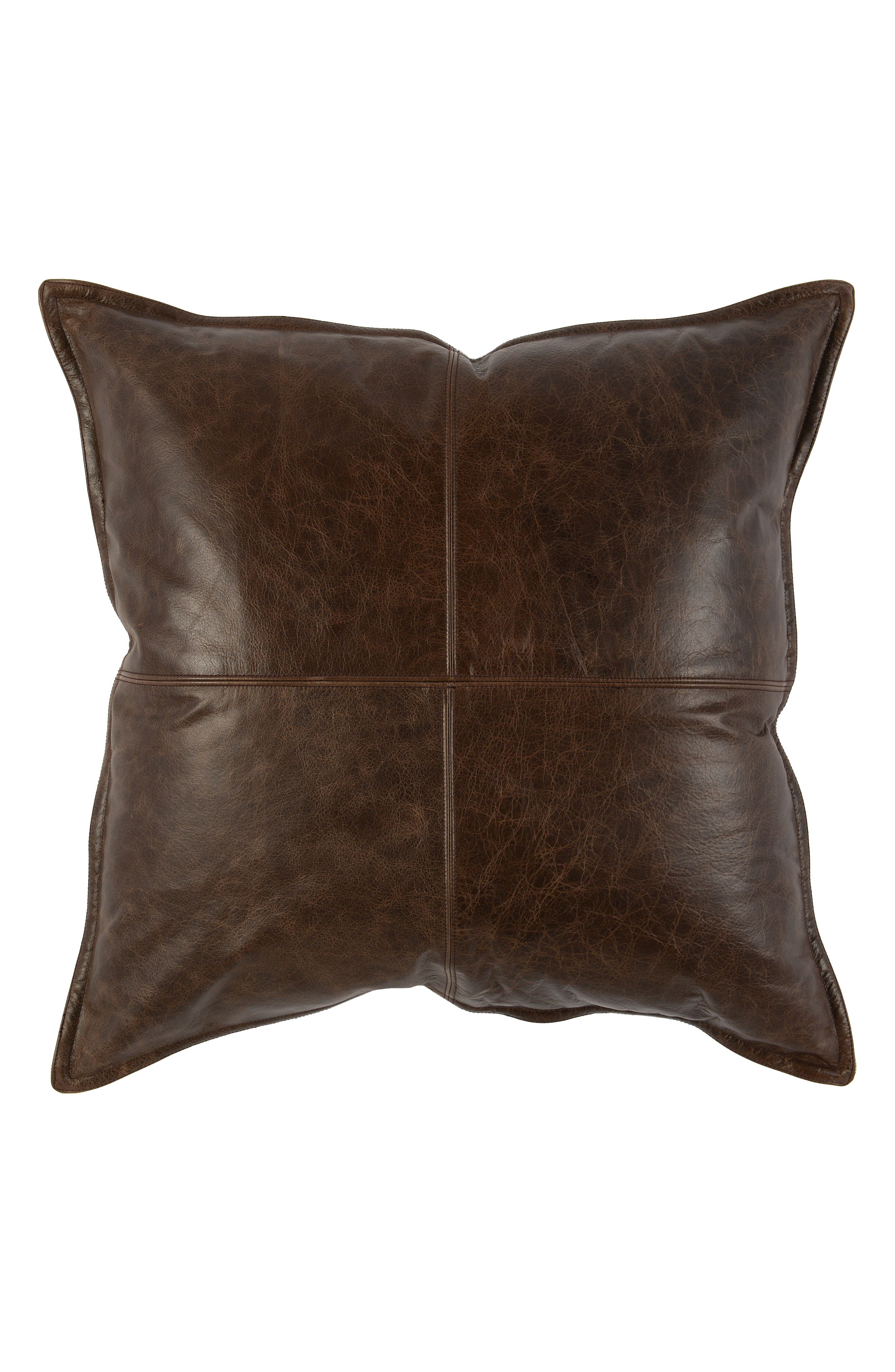 Parsons Leather Accent Pillow,                             Main thumbnail 1, color,                             Leather Cocoa