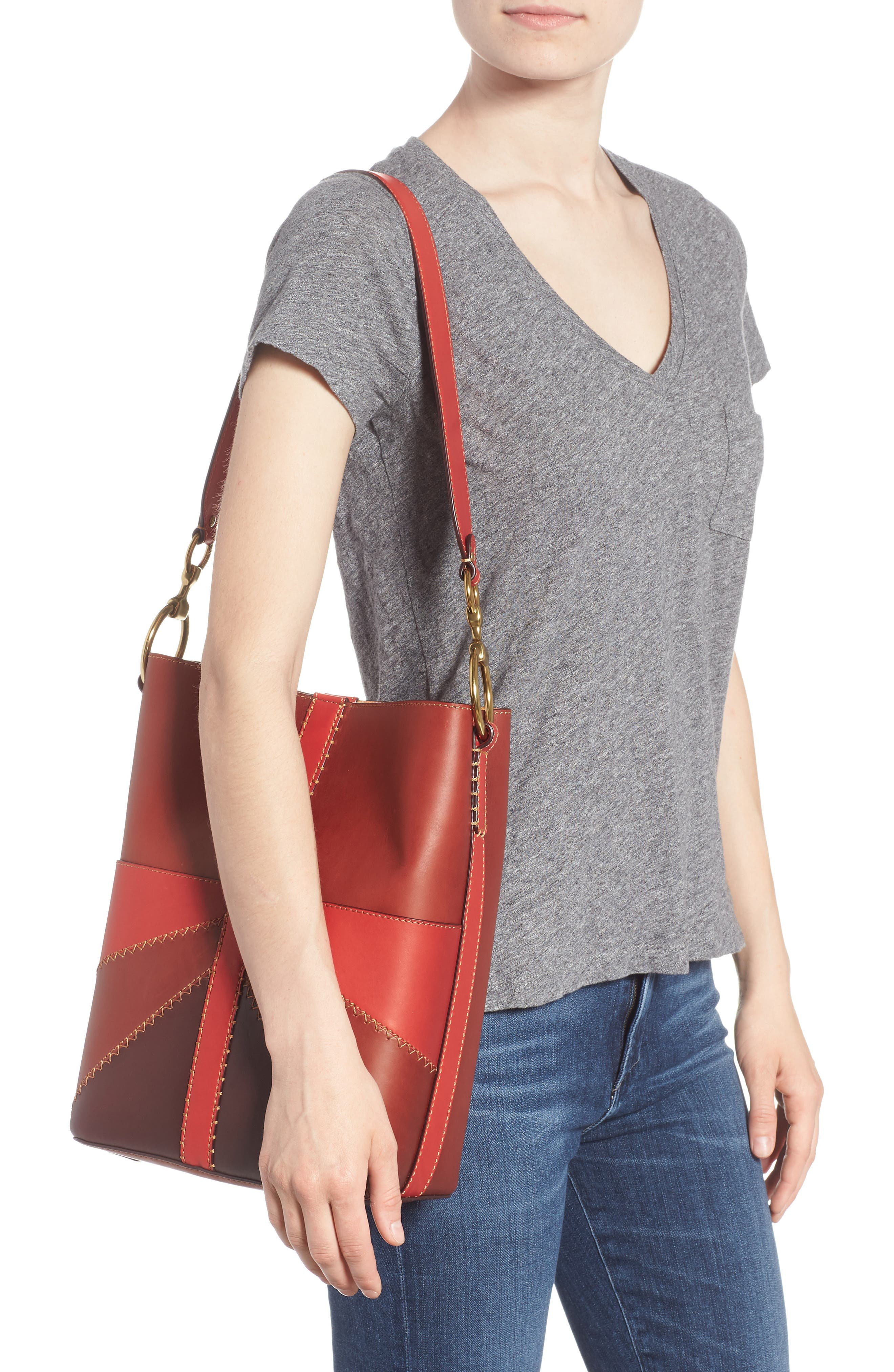 Ilana Colorblock Leather Bucket Hobo,                             Alternate thumbnail 2, color,                             Red Clay Multi