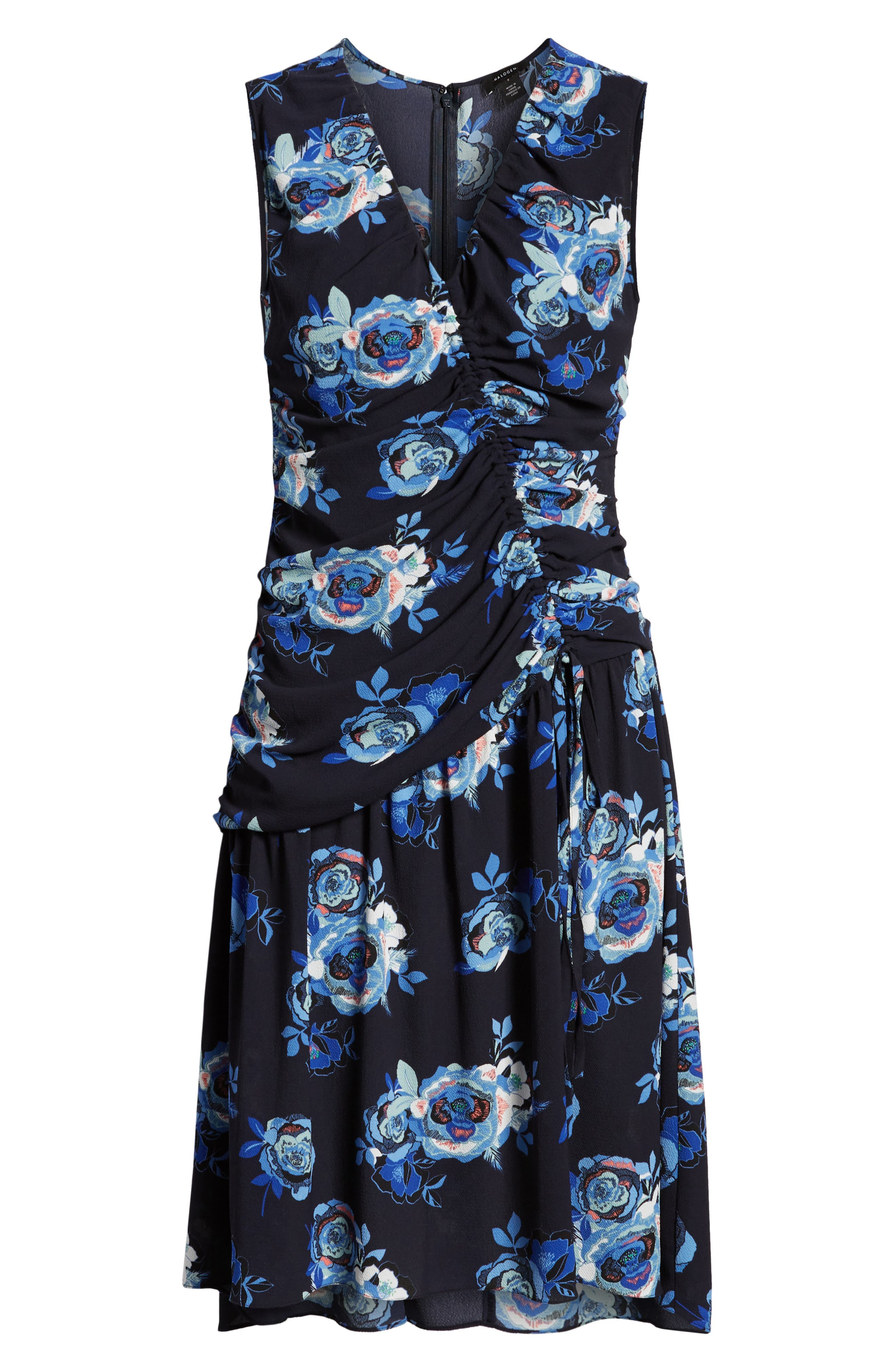 Sleeveless Ruched Dress,                             Alternate thumbnail 7, color,                             Navy- Blue Rose Print