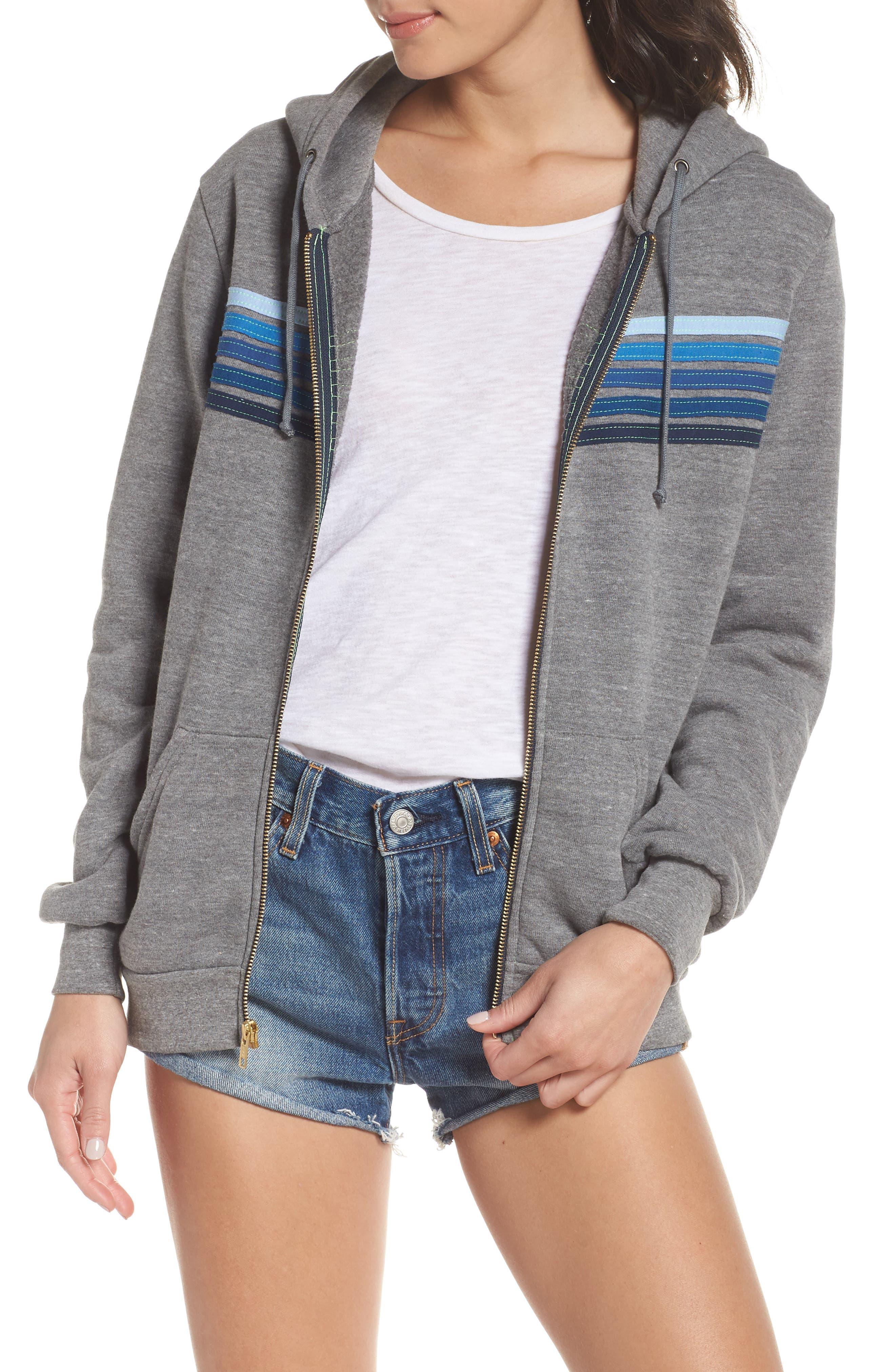 5-Stripe Zip Hoodie,                         Main,                         color, Heather Grey/ Blue Stripes