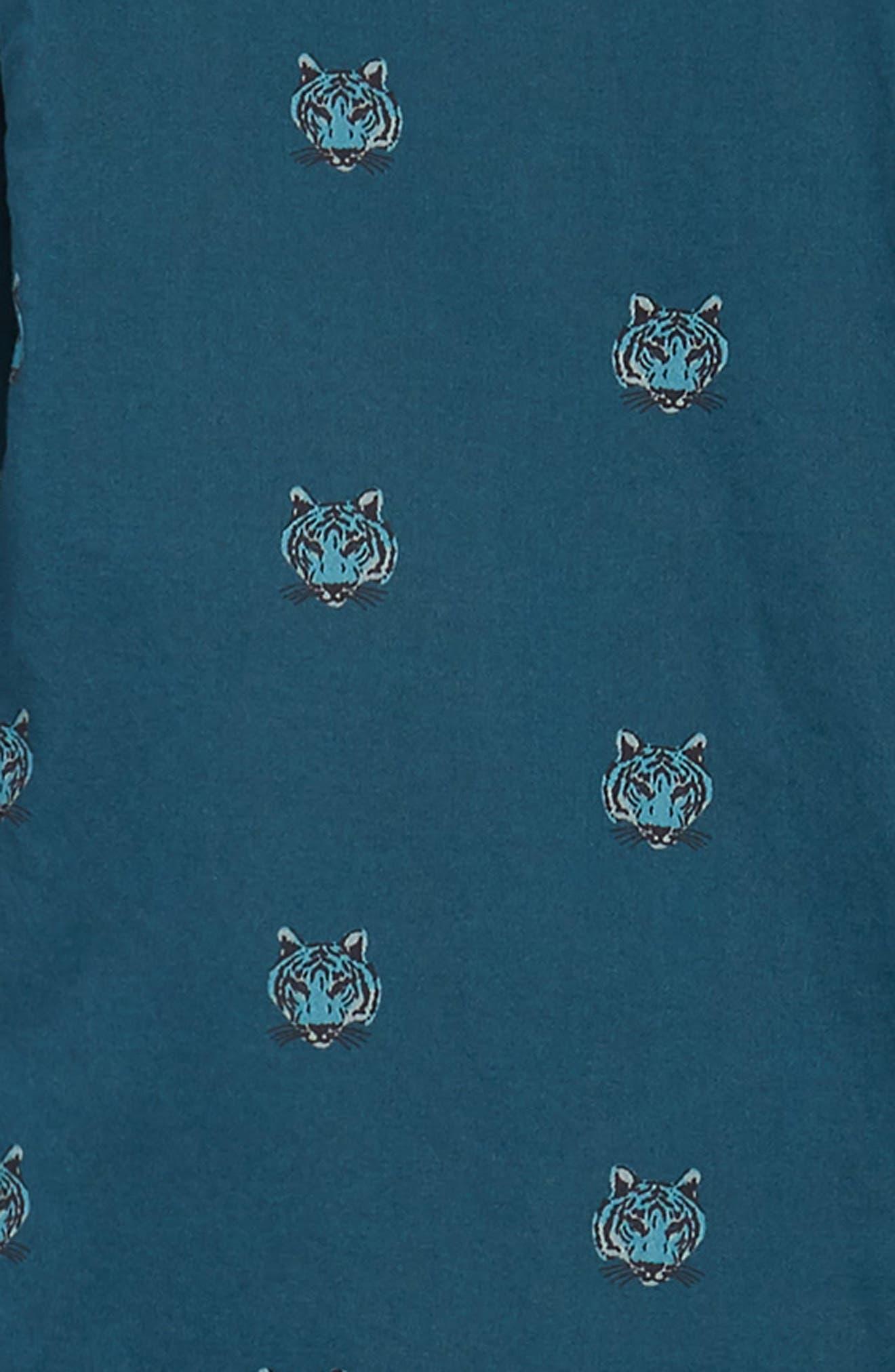 Unbutton Down Slim Fit Tiger Sport Shirt,                             Alternate thumbnail 5, color,                             Tiger Head - Viridien