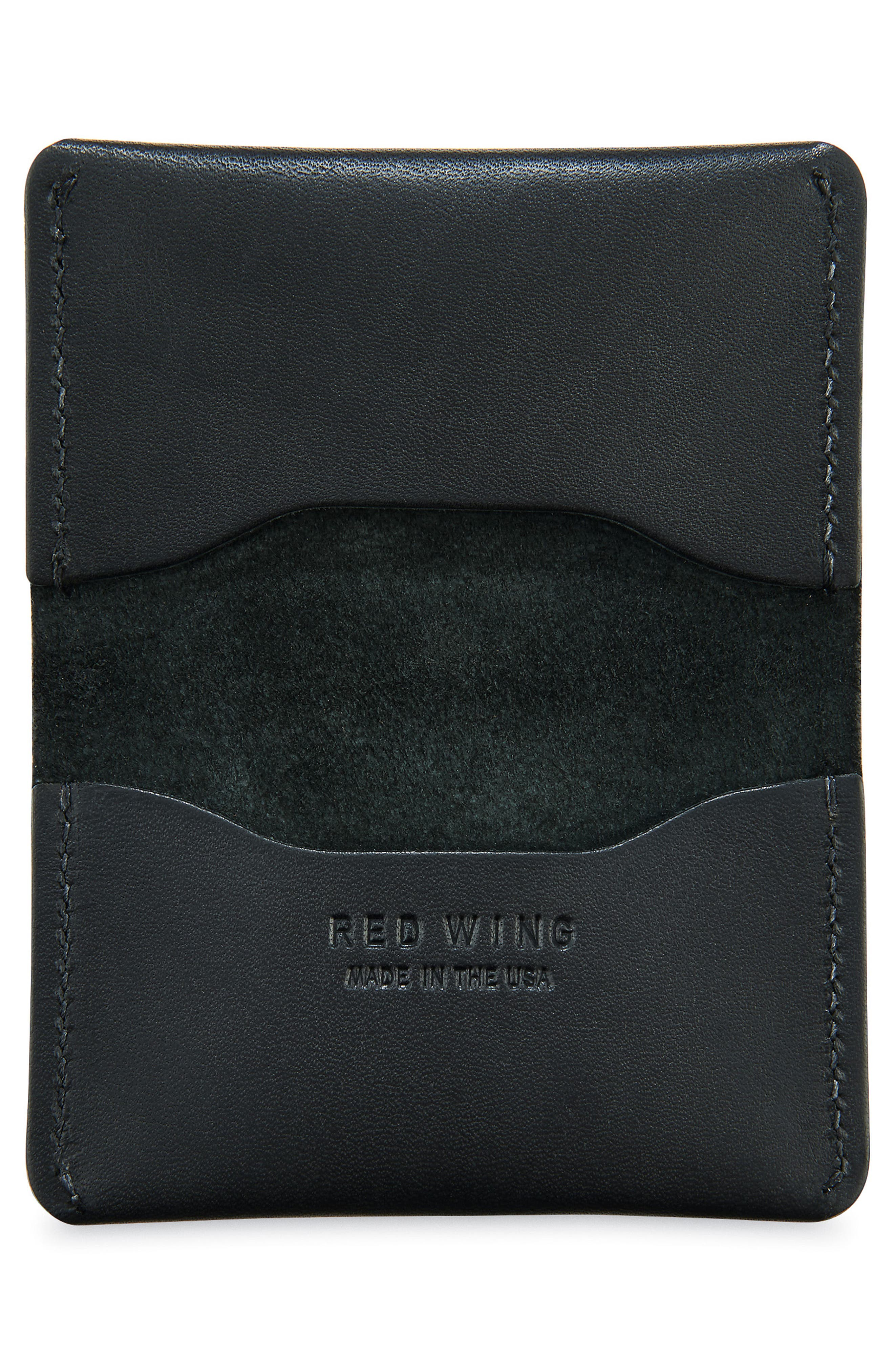Leather Card Holder,                             Alternate thumbnail 2, color,                             Black