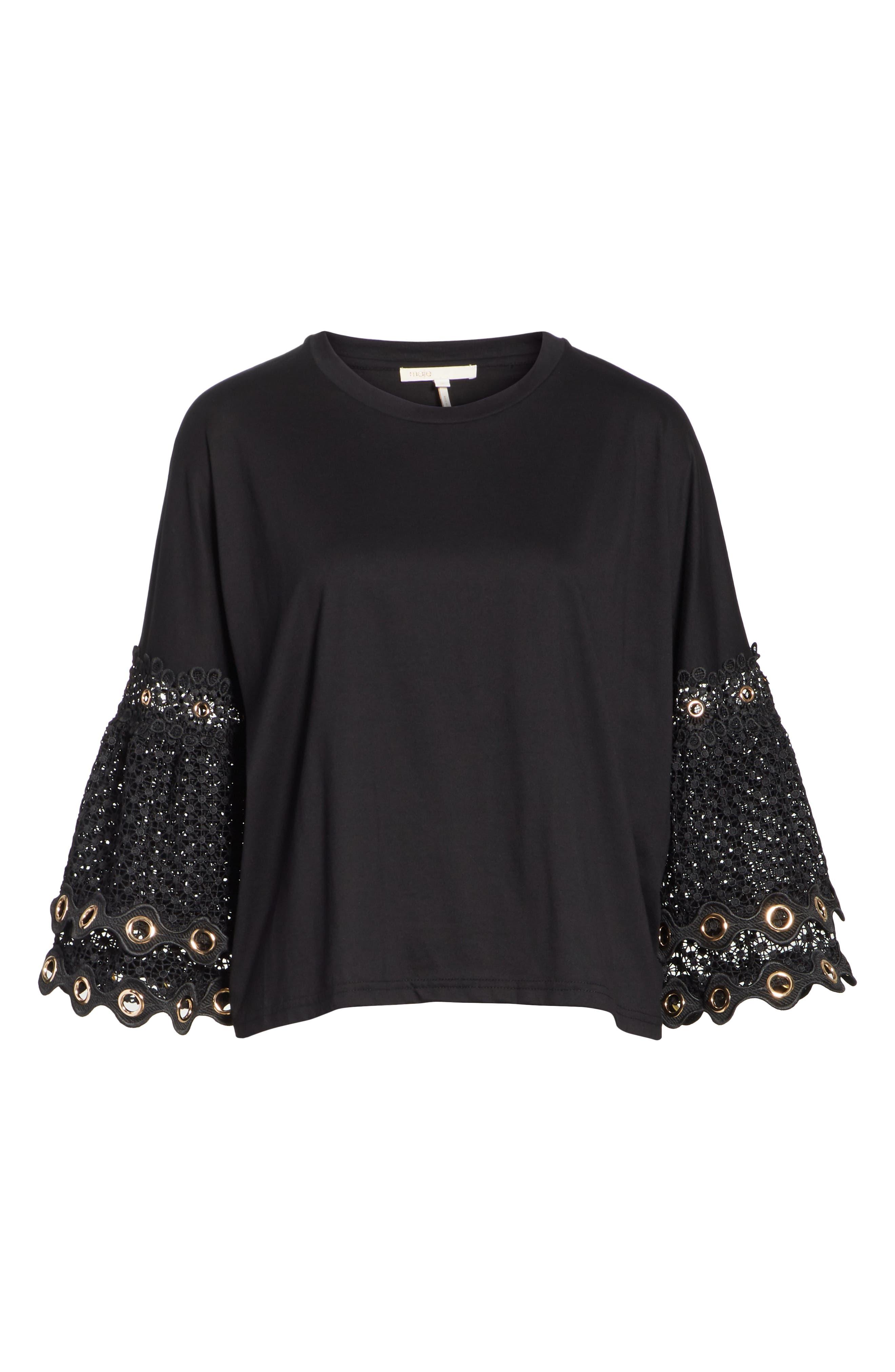Lace Sleeve Top,                             Alternate thumbnail 6, color,                             Black