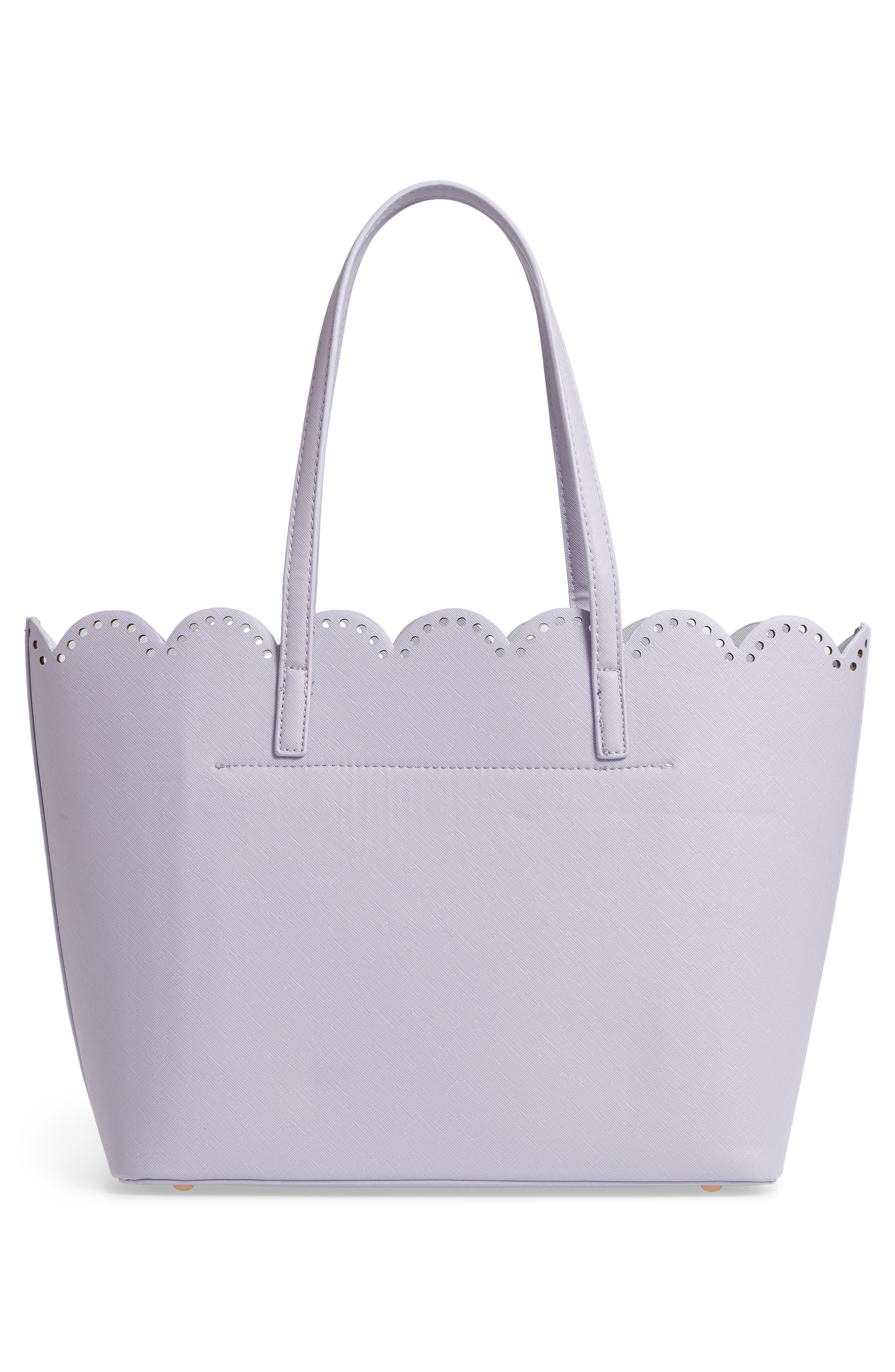 Scalloped Faux Leather Tote,                             Alternate thumbnail 5, color,                             Lilac