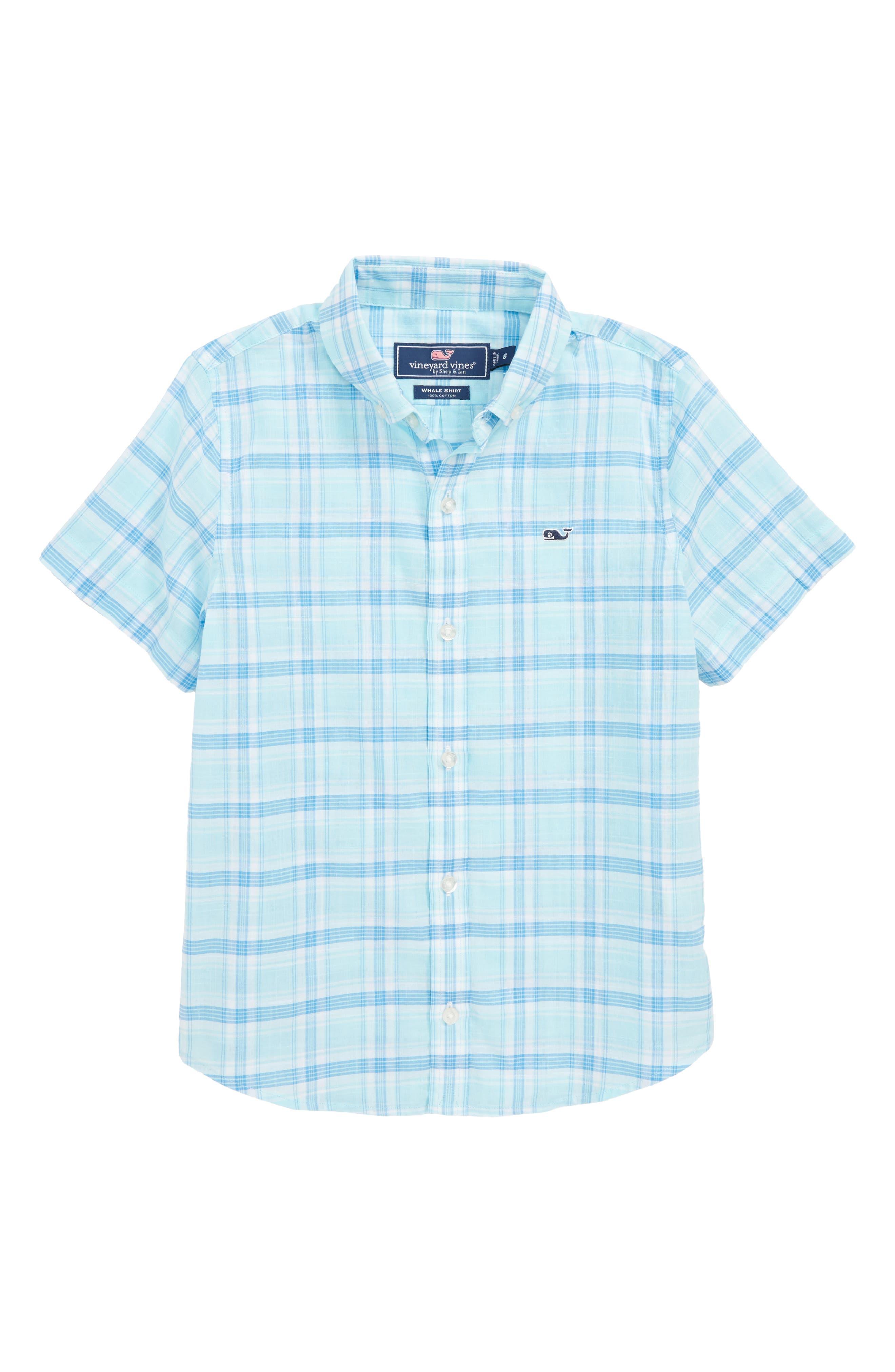Plaid Flannel Whale Shirt,                             Main thumbnail 1, color,                             Poolside