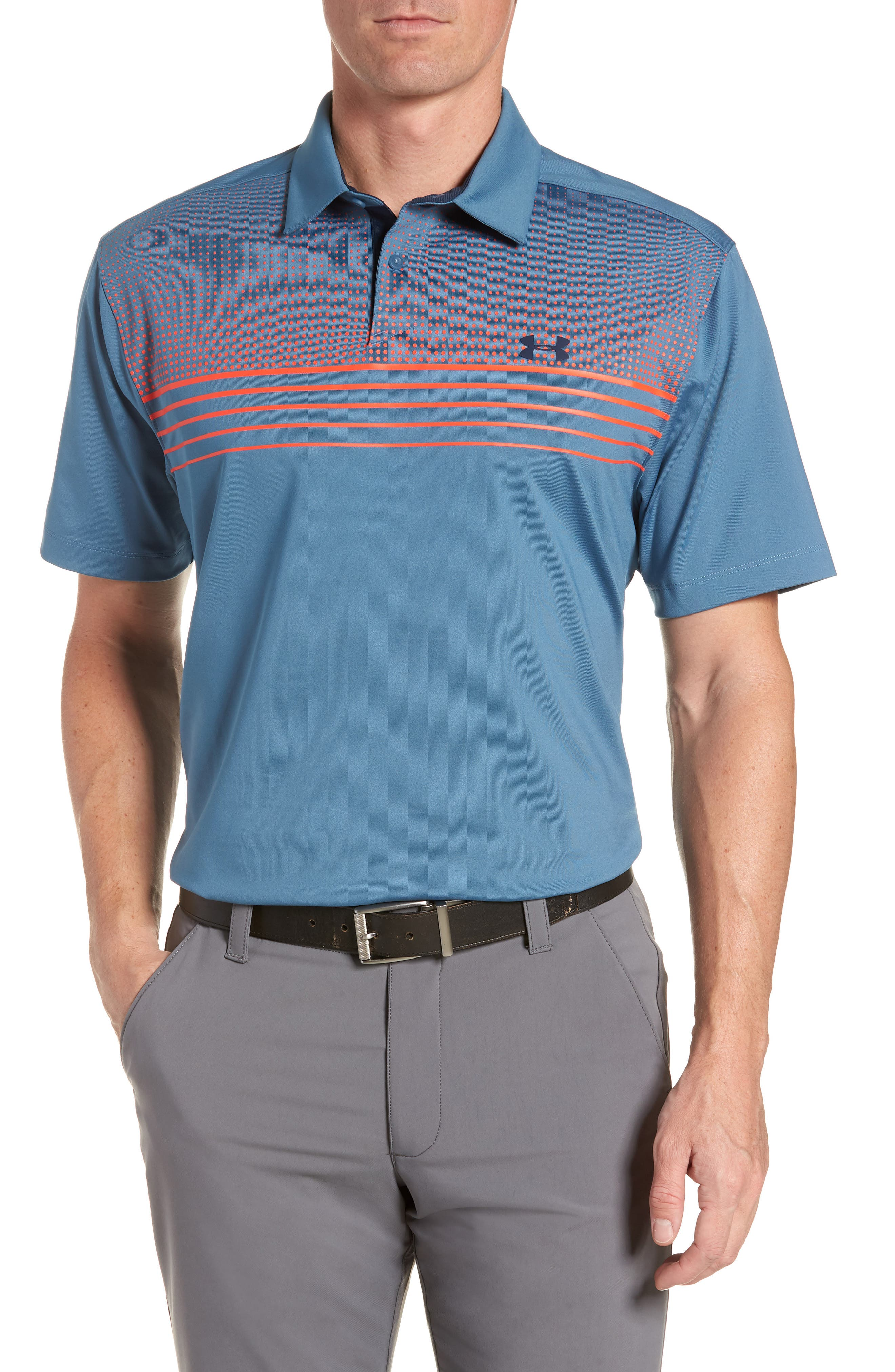 UA CoolSwitch Regular Fit Golf Polo,                         Main,                         color, 588 Bss Blu Neon Corl Acdmy