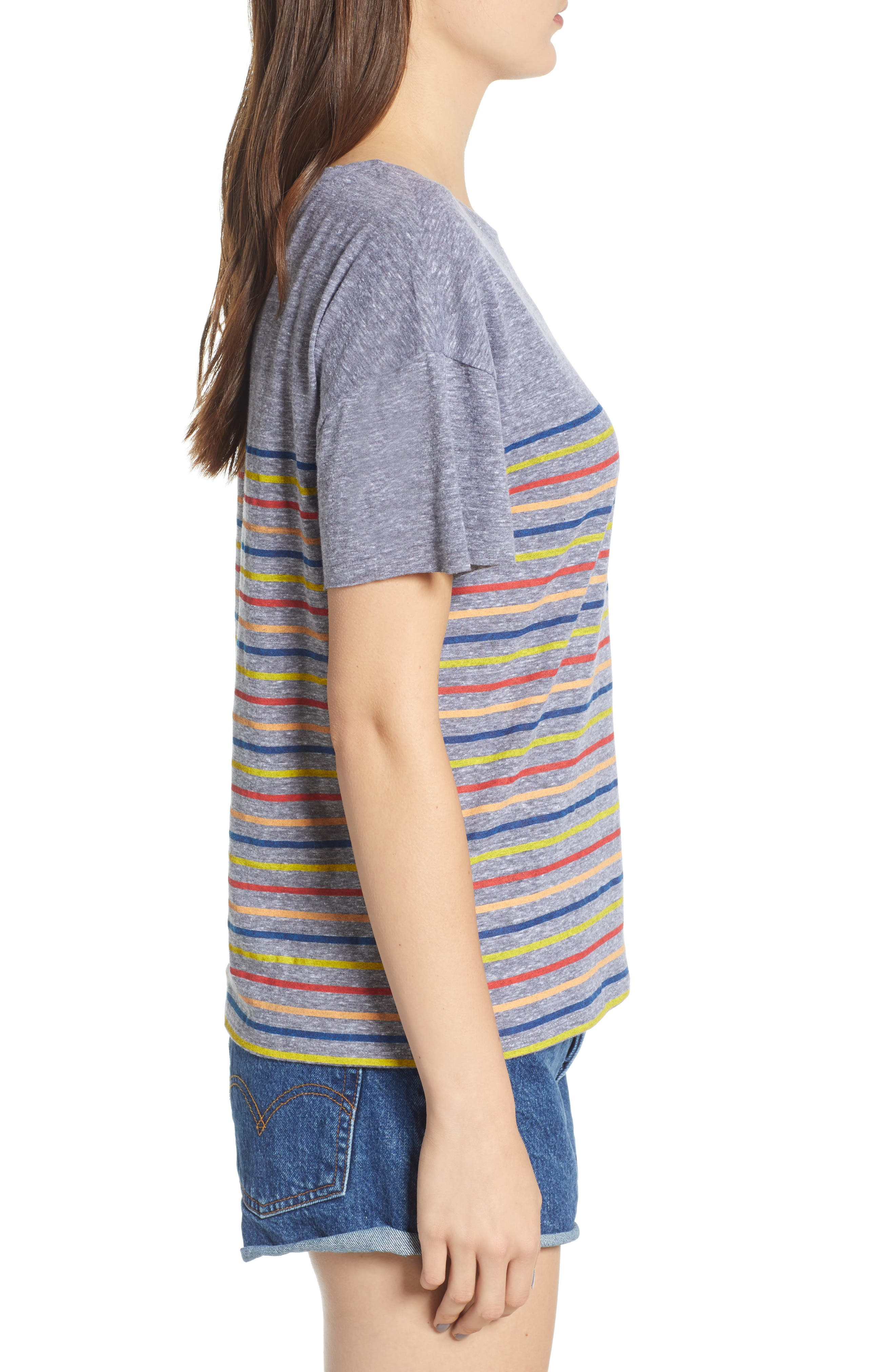 Placed Stripe Tee,                             Alternate thumbnail 3, color,                             Grey