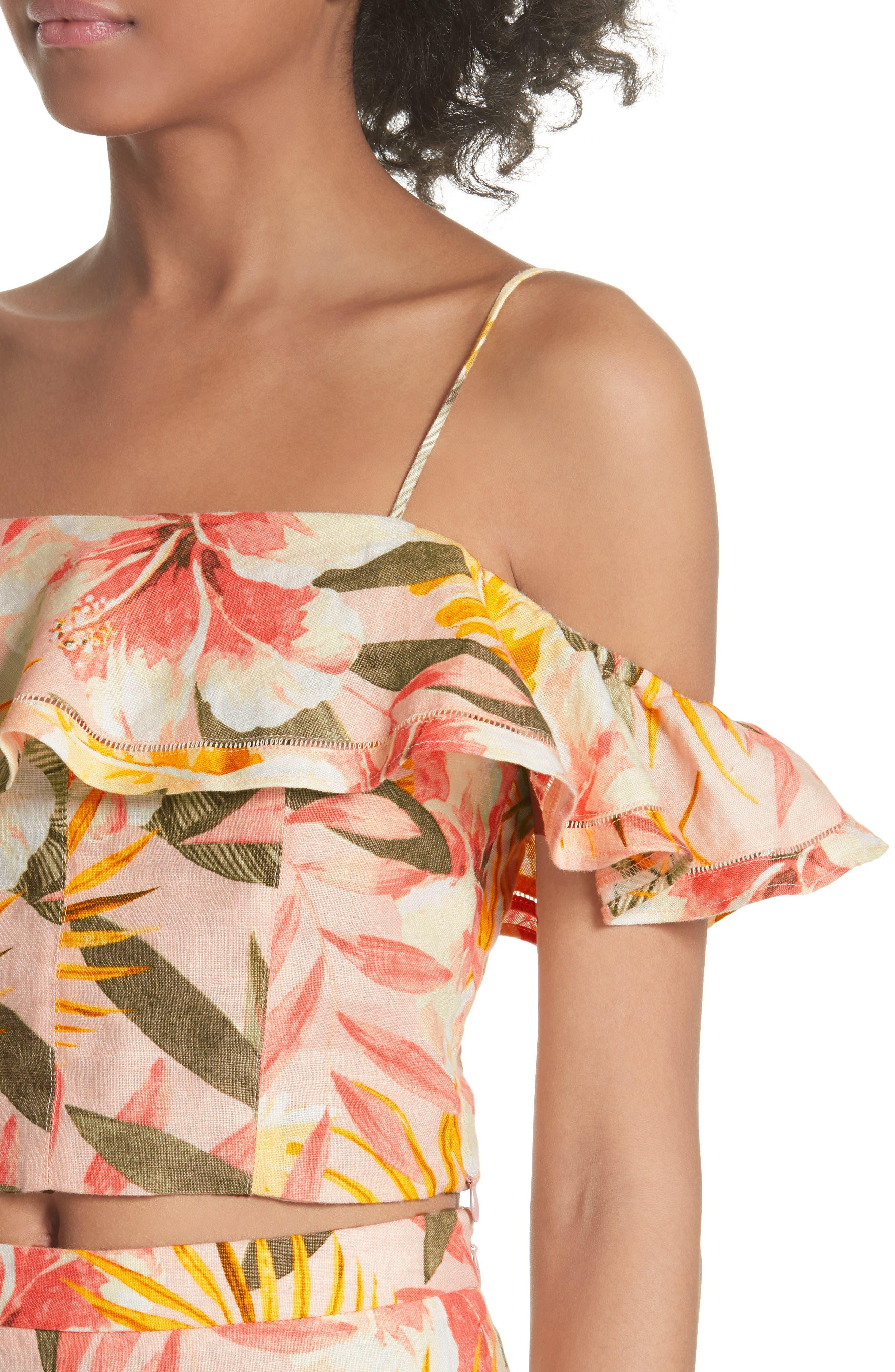 Jazbeth Floral Linen Top,                             Alternate thumbnail 4, color,                             Dusty Nude