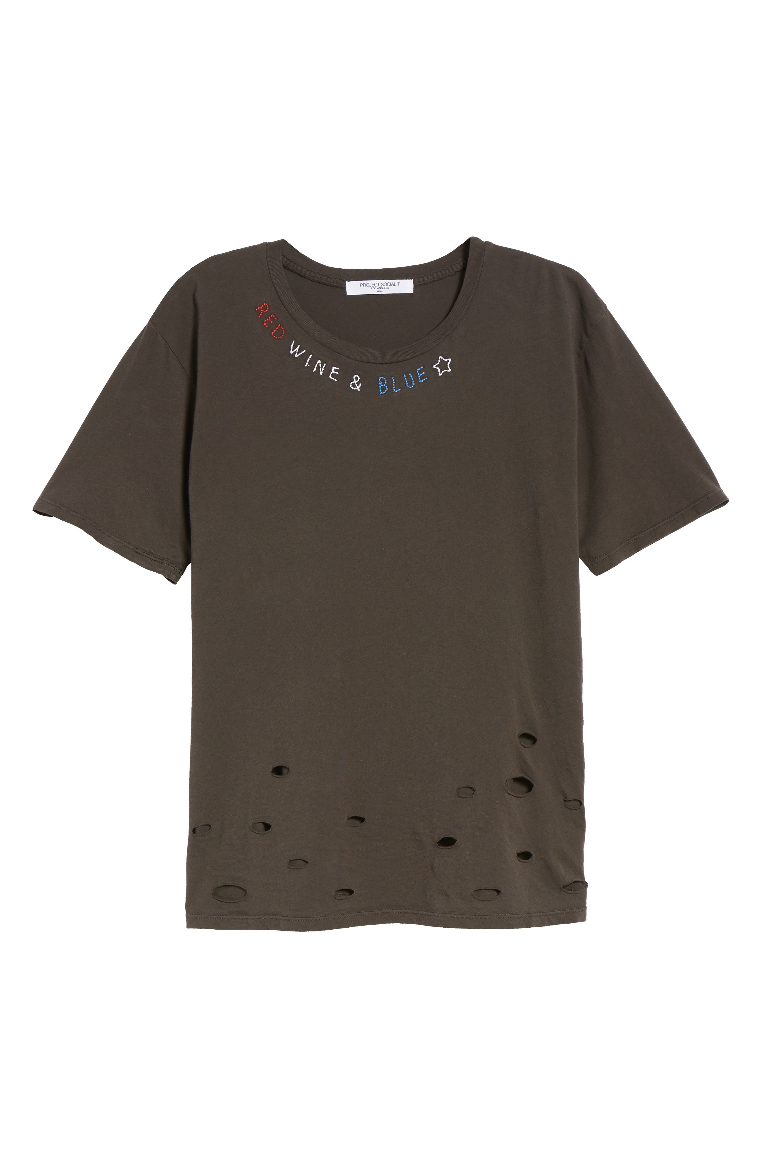 Red, Wine & Blue Embroidered Tee,                             Alternate thumbnail 7, color,                             Distressed Black