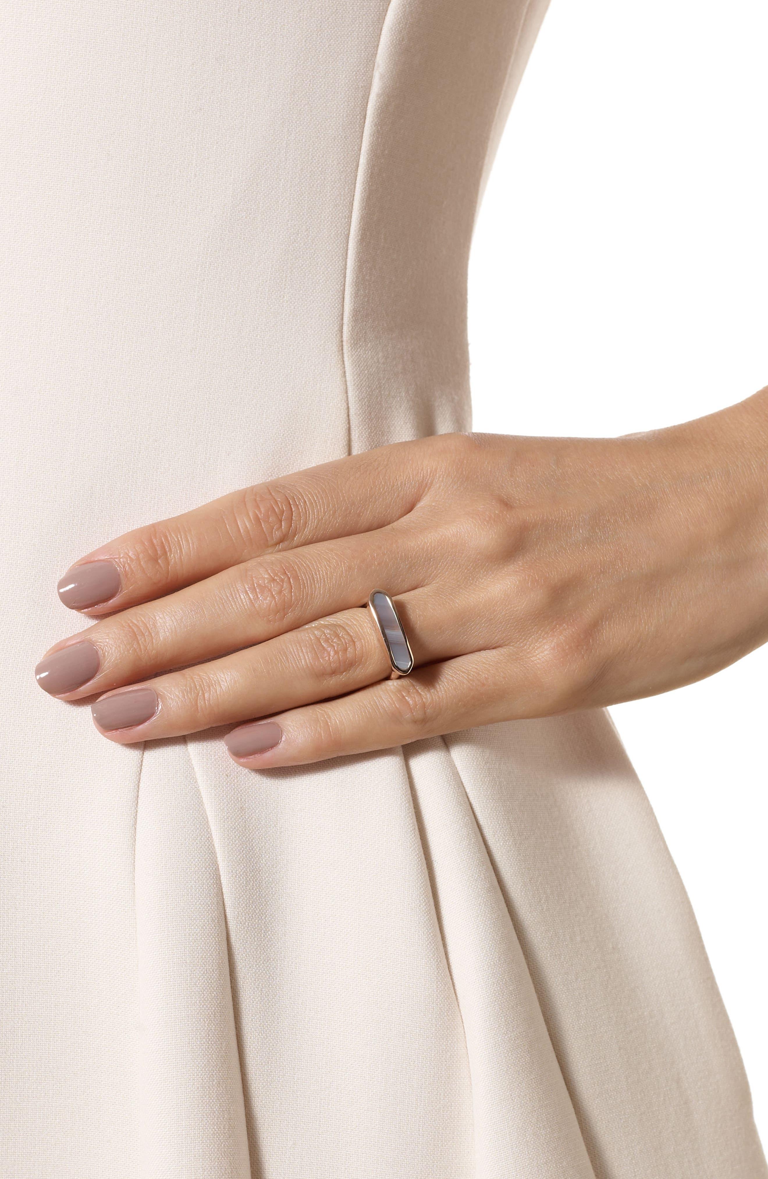 Baja Grey Agate Ring,                             Alternate thumbnail 2, color,                             Rose Gold/ Grey Agate