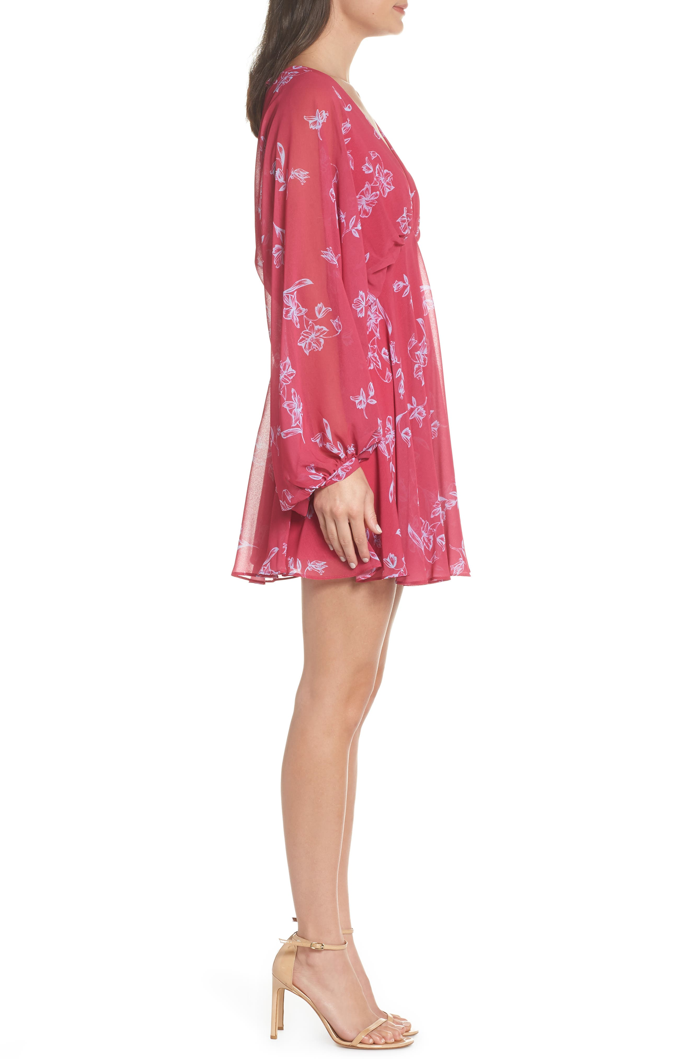 Fame & Partners The Kassidy Georgette Dress,                             Alternate thumbnail 3, color,                             Pop Sketch Floral