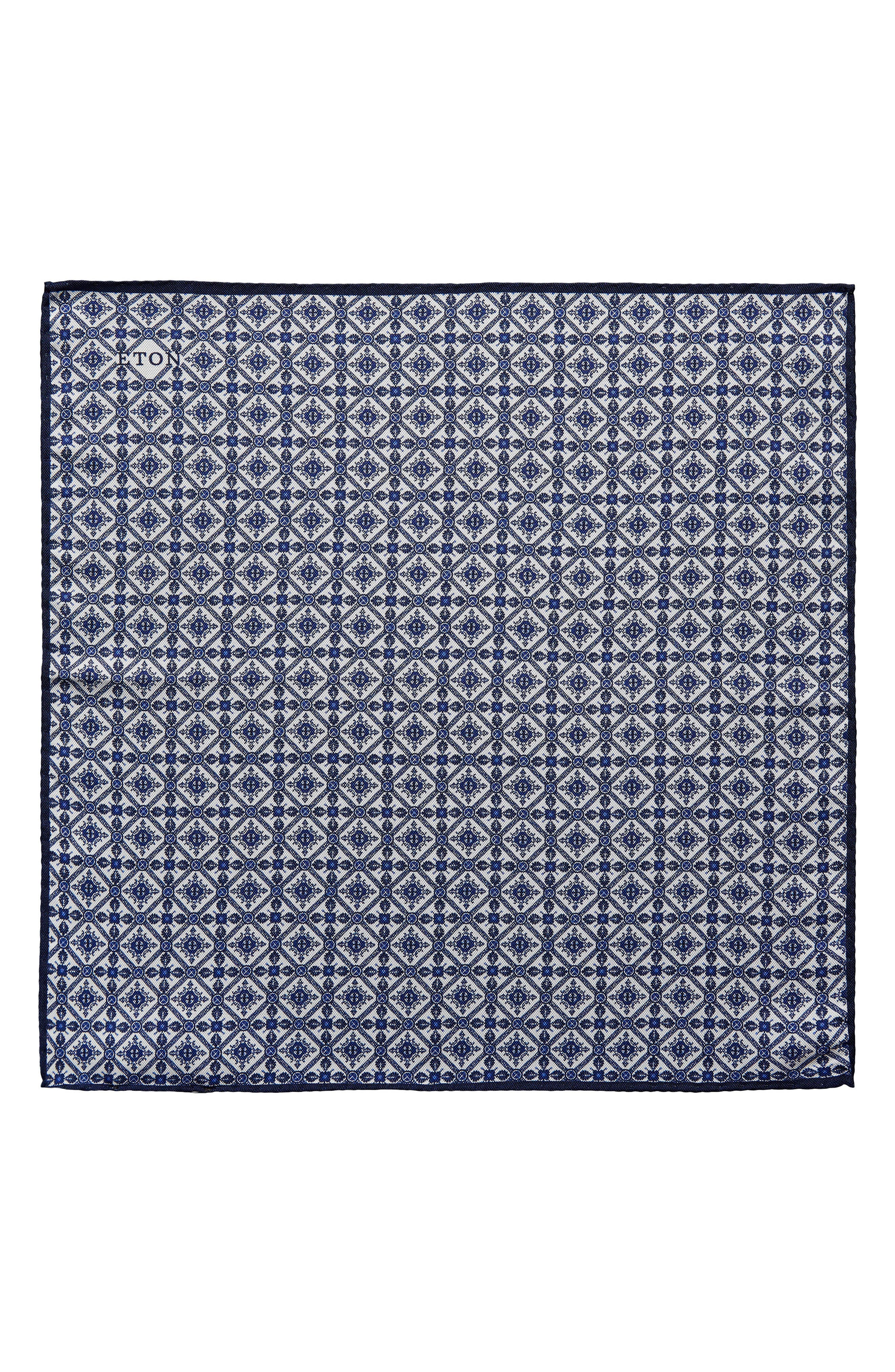 Tile Pocket Silk Pocket Square,                             Main thumbnail 1, color,                             Blue