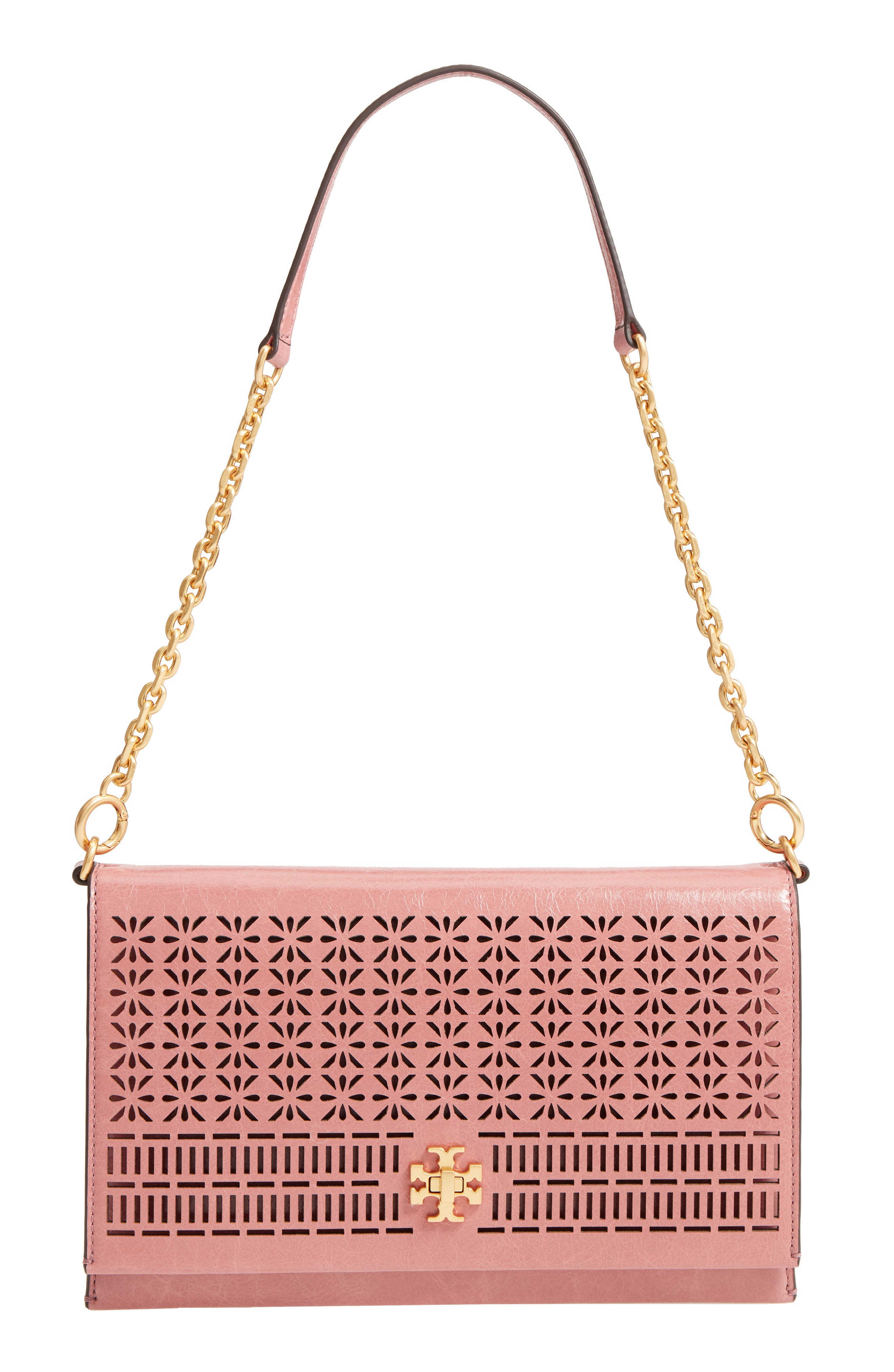 Kira Perforated Leather Clutch,                             Main thumbnail 1, color,                             Pink Magnolia