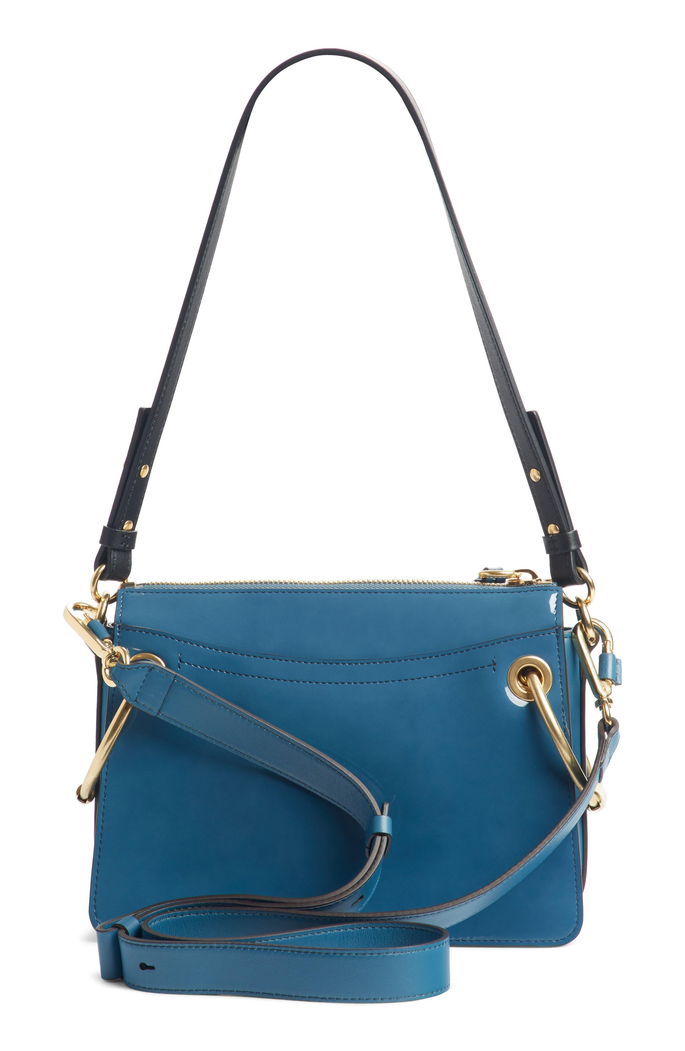 Large Roy Leather Shoulder Bag,                             Alternate thumbnail 5, color,                             Vinyl Blue