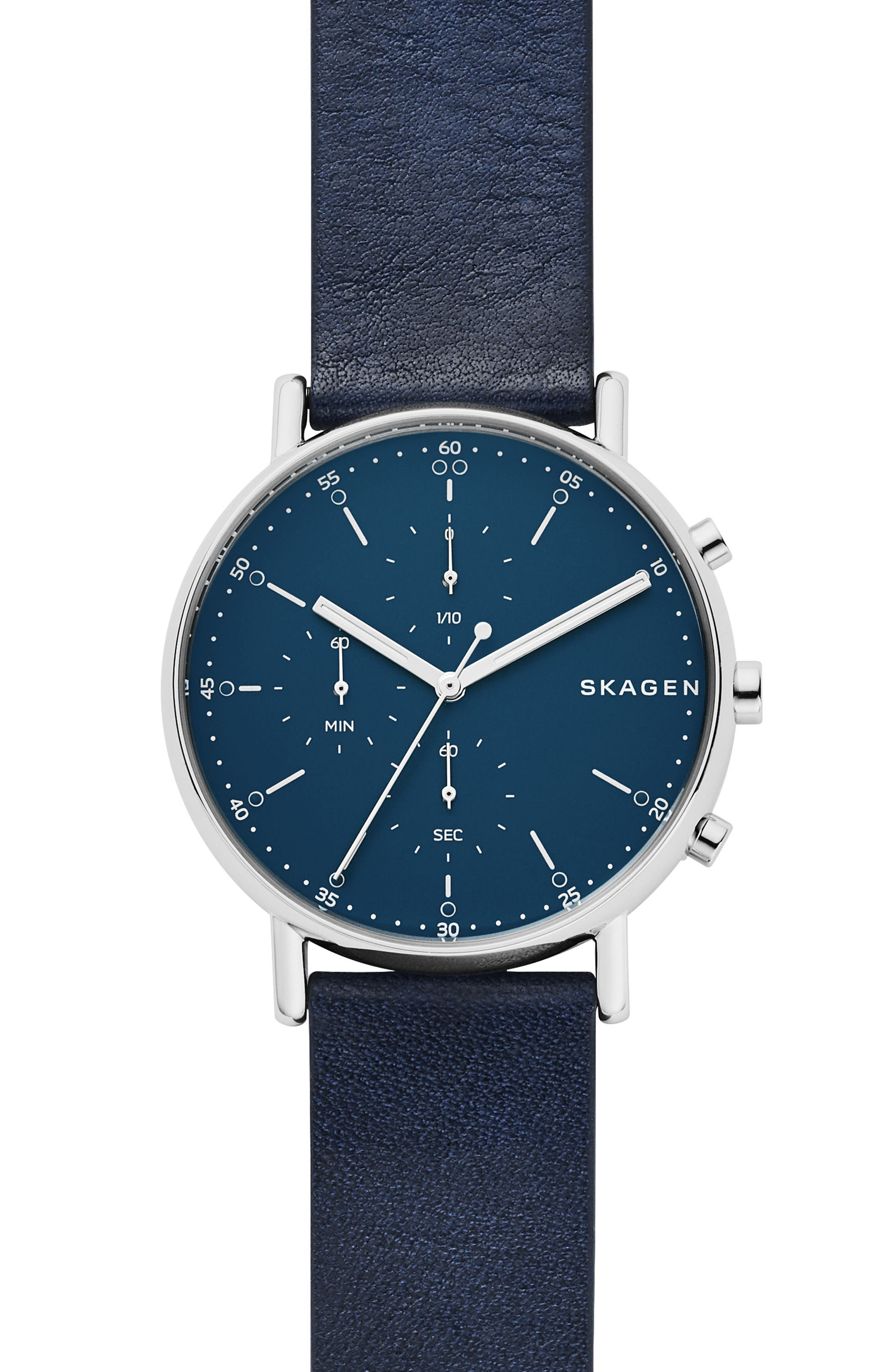 Signature Leather Watch, 40mm,                             Main thumbnail 1, color,                             Blue/ Silver