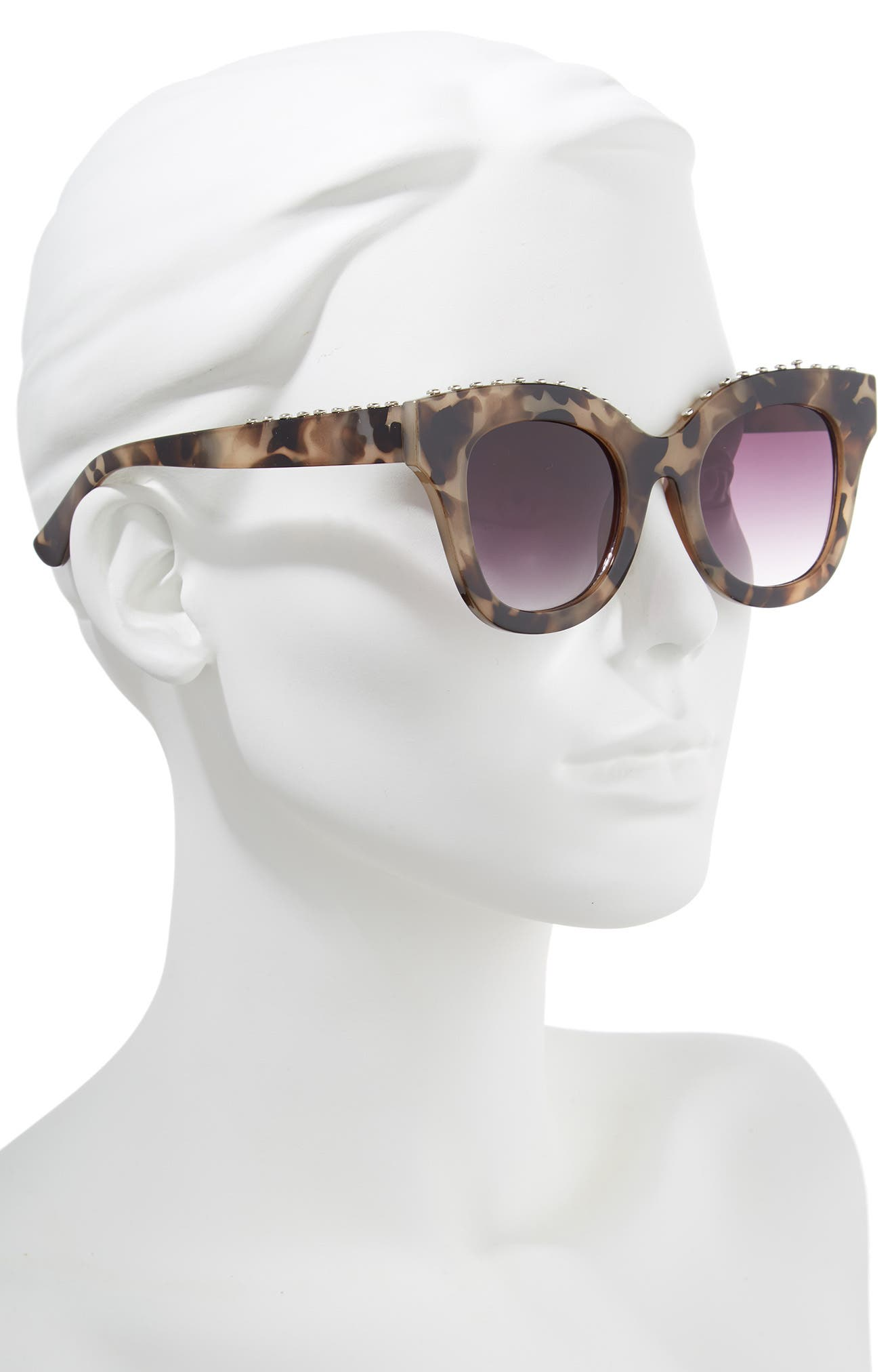 48mm Studded Sunglasses,                             Alternate thumbnail 2, color,                             Tort/ Silver