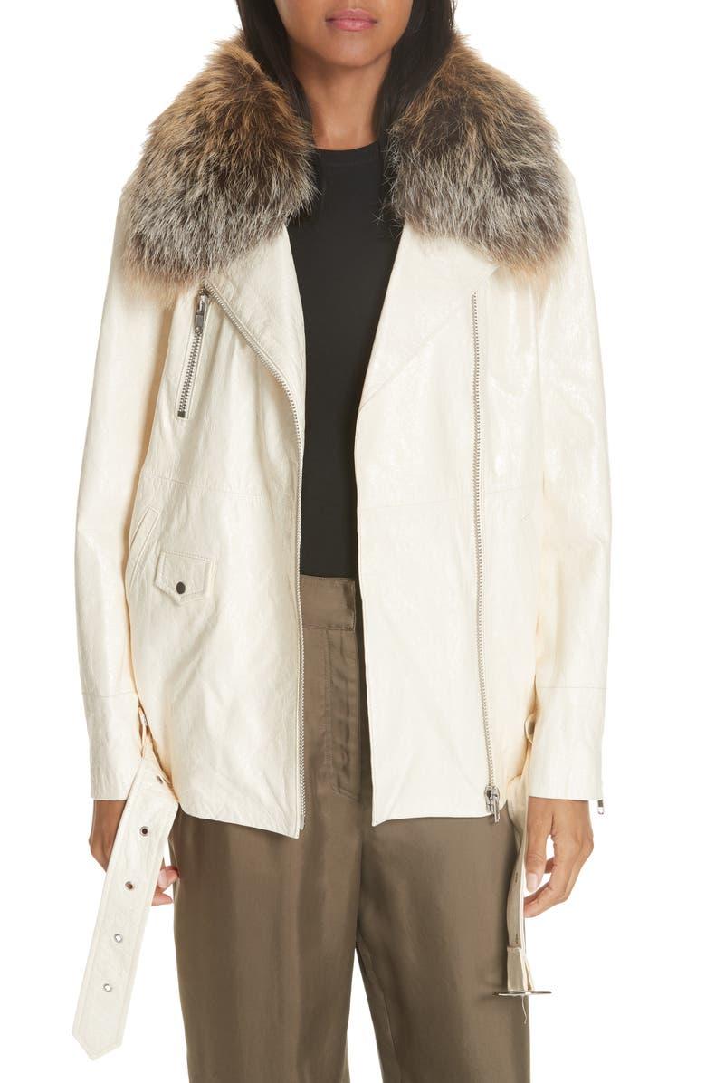 Emilia Genuine Fox Fur Collar Leather Jacket