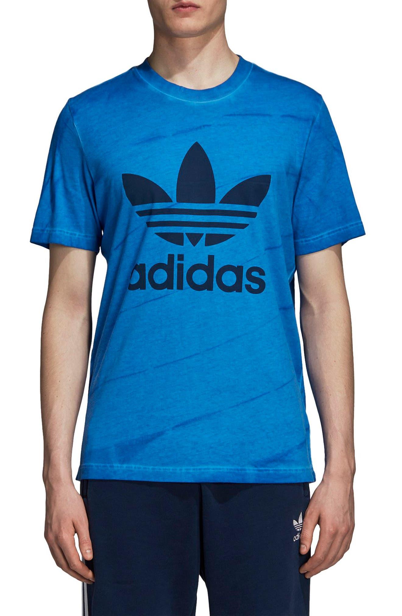 adidas Tie Dye T-Shirt,                             Main thumbnail 1, color,                             Bluebird