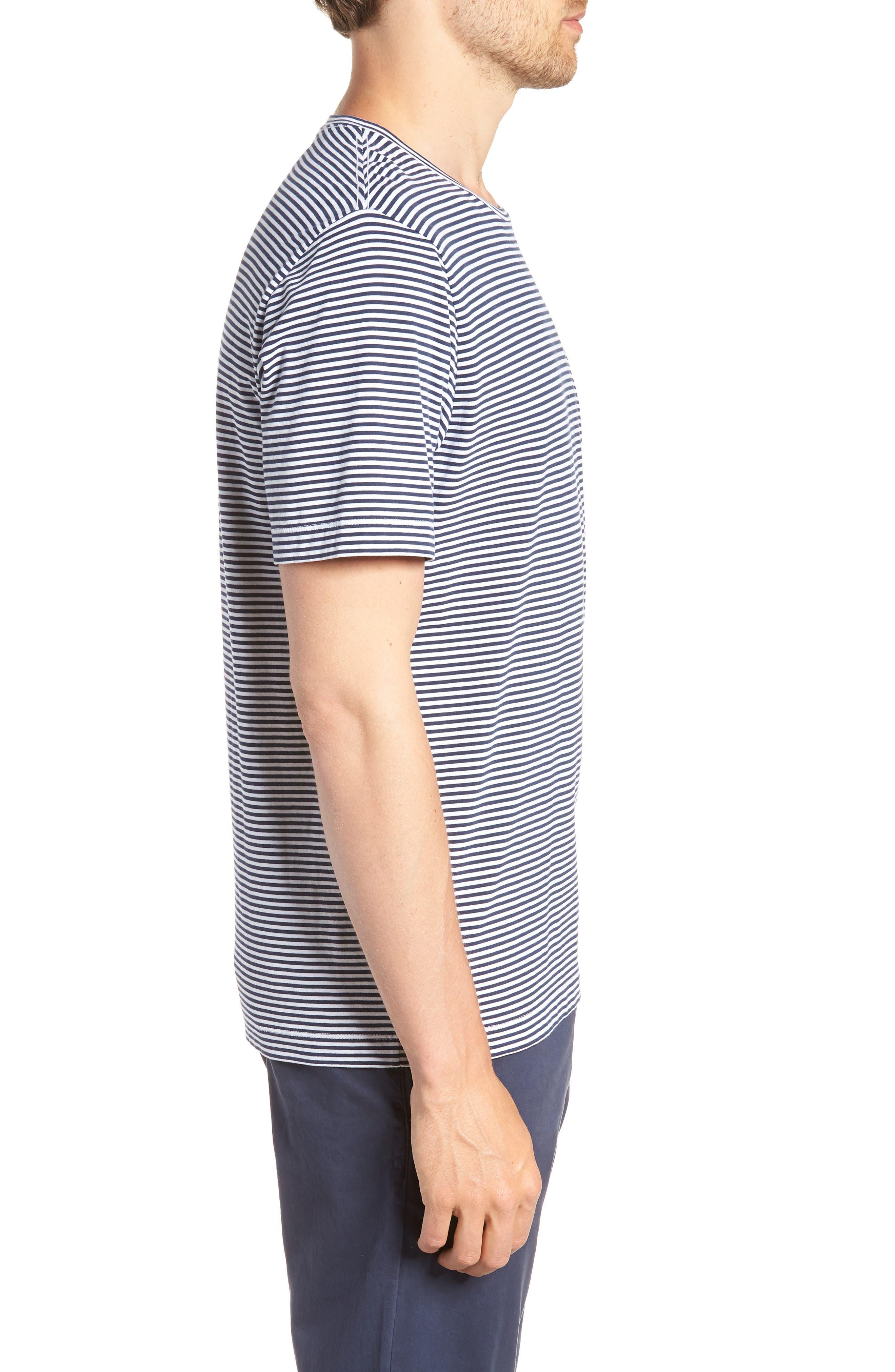Stripe Brushed Pima Cotton T-Shirt,                             Alternate thumbnail 3, color,                             Navy Iris Mini Stripe