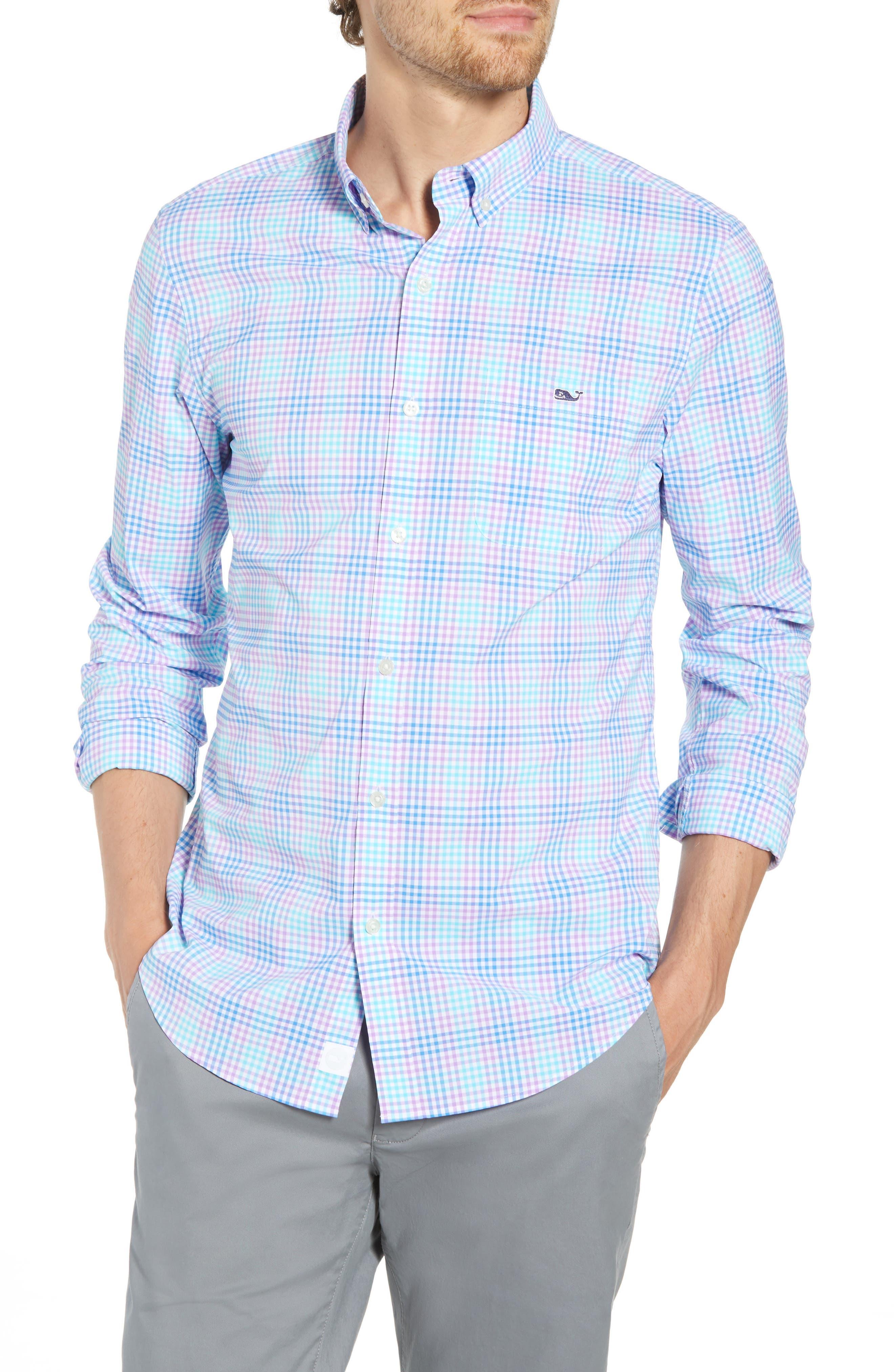 Ridge Hill Slim Fit Check Performance Sport Shirt,                         Main,                         color, Turquoise