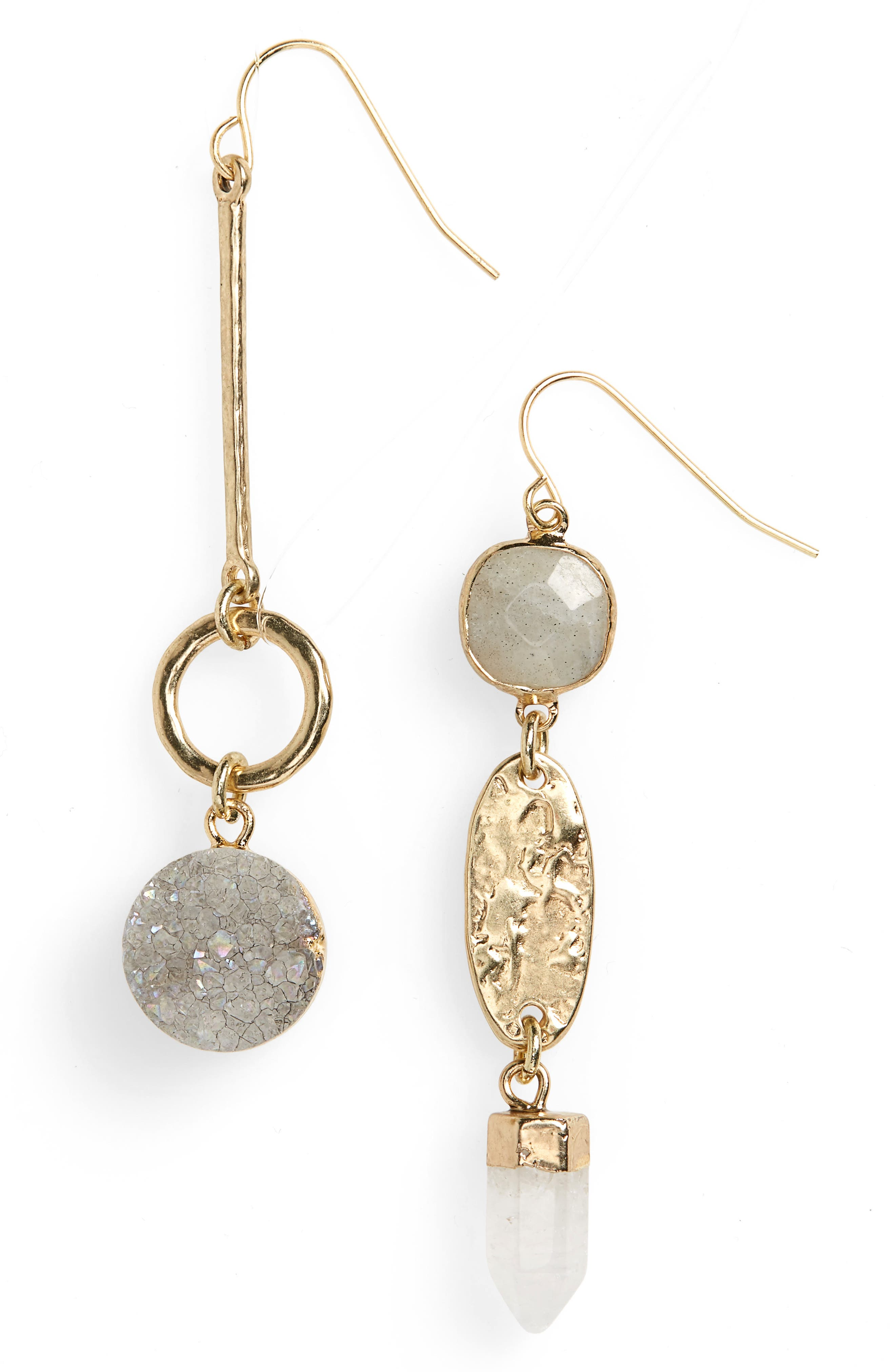 Semiprecious Mismatched Linear Drop Earrings,                             Main thumbnail 1, color,                             White- Gold