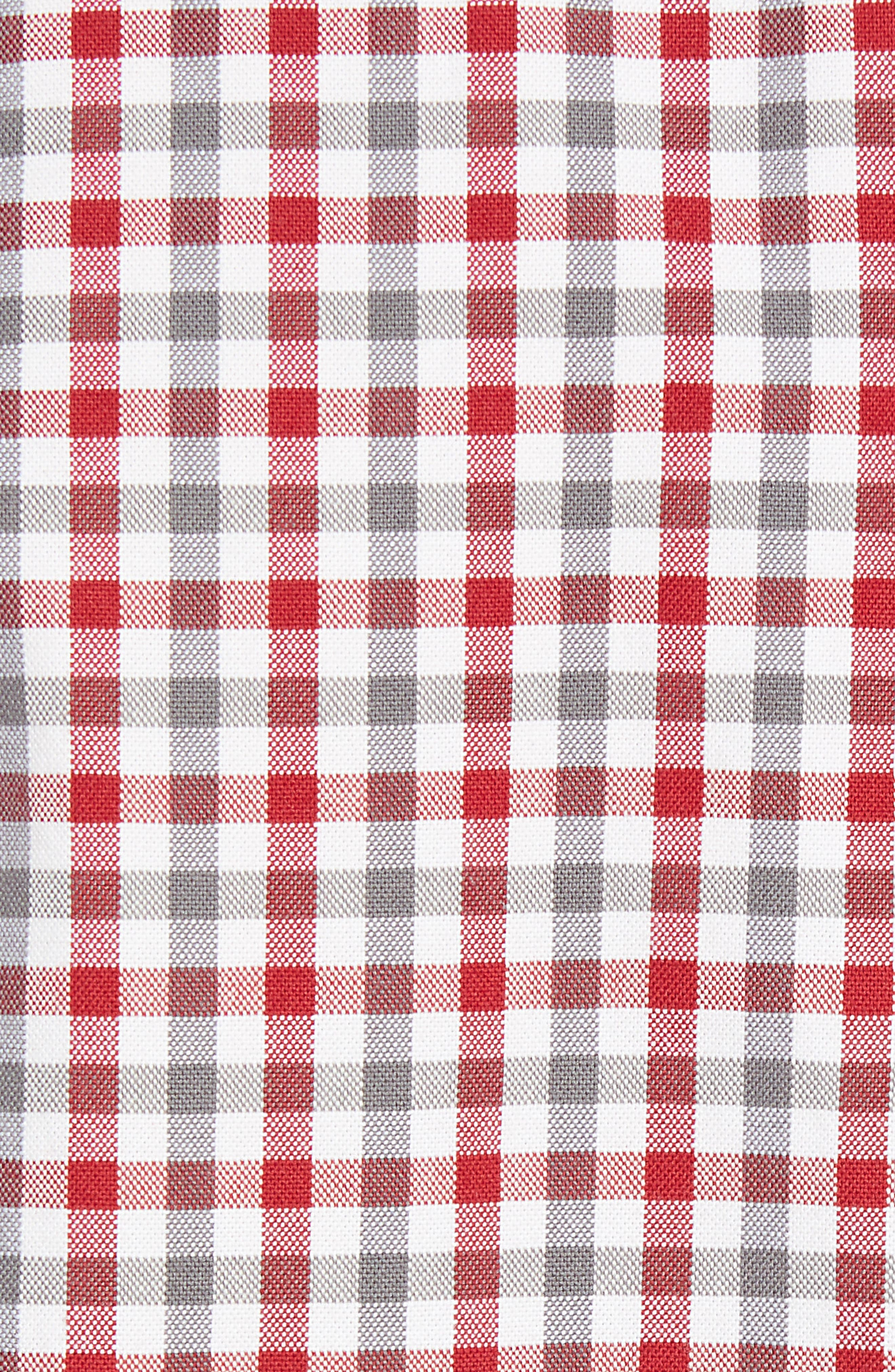 Mod Fit Gingham Woven Shirt,                             Alternate thumbnail 5, color,                             Off White