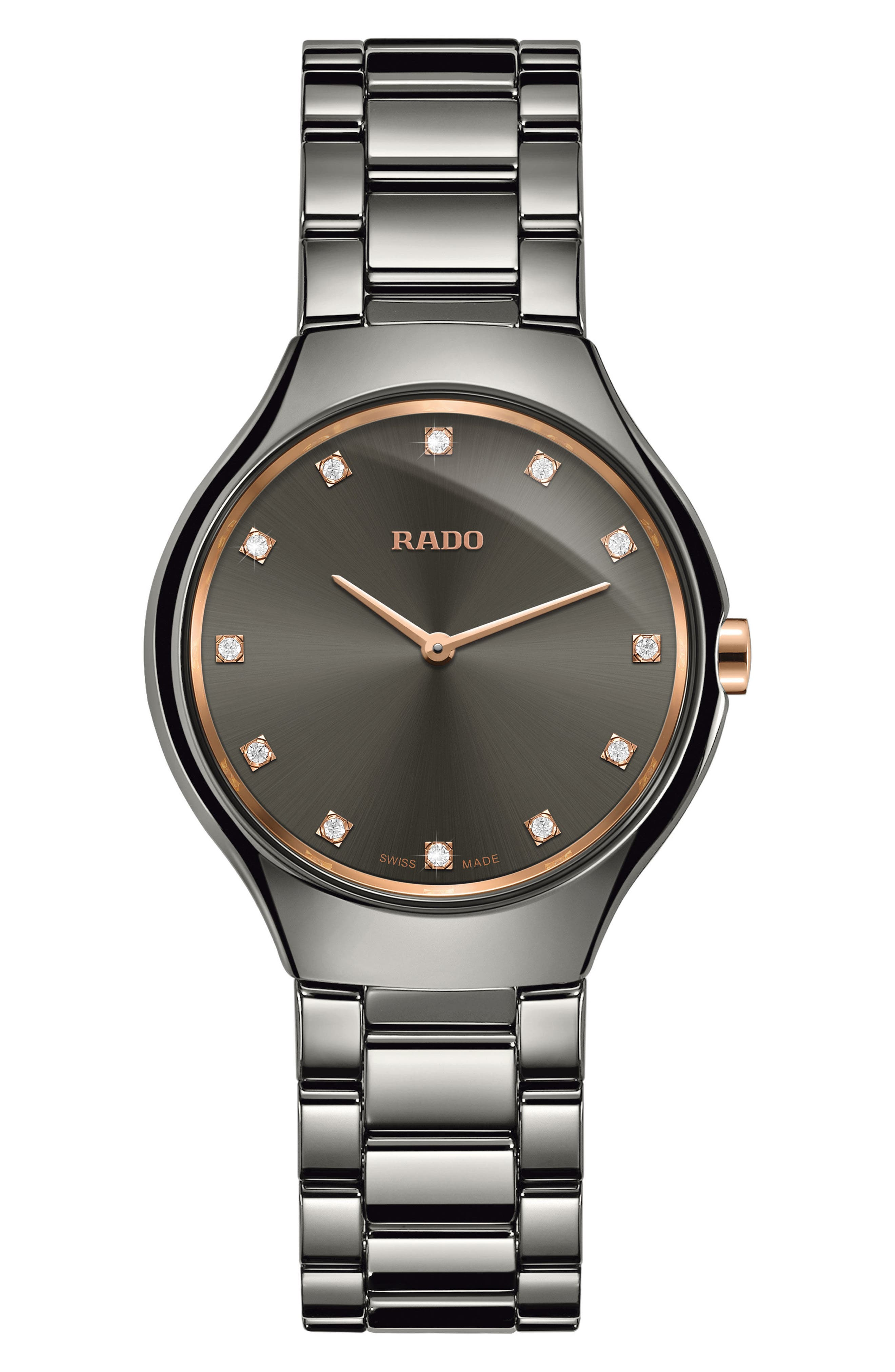 True Thinline Diamond Ceramic Bracelet Watch, 30mm,                             Main thumbnail 1, color,                             Silver/ Grey/ Silver